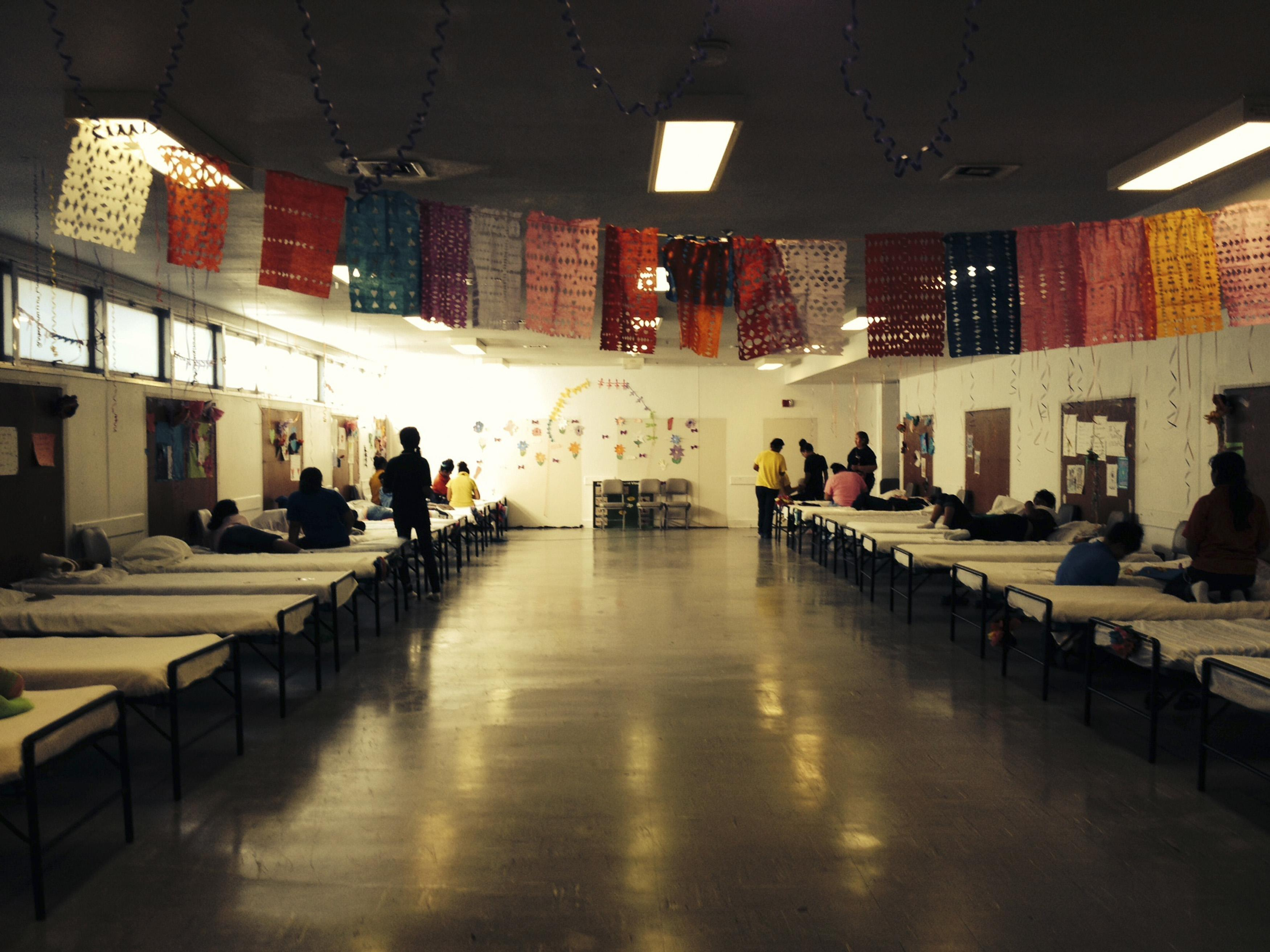 Image: A dormitory used to house children illegally crossing the border from Central and South America without adults is seen at Lackland Air Force Base, Texas