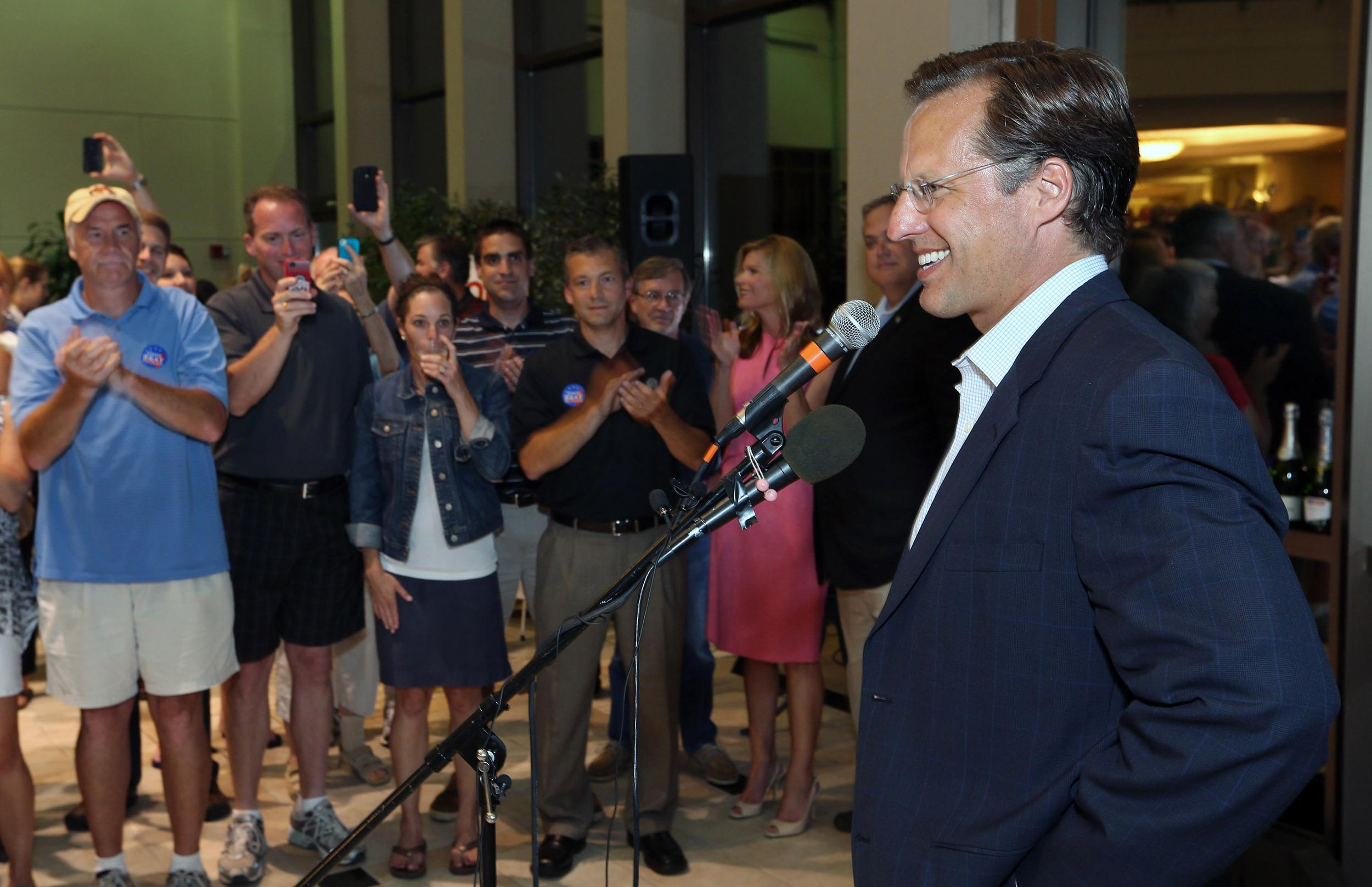 Image: Dave Brat speaks to supporters after defeating Republican Congressman Eric Cantor