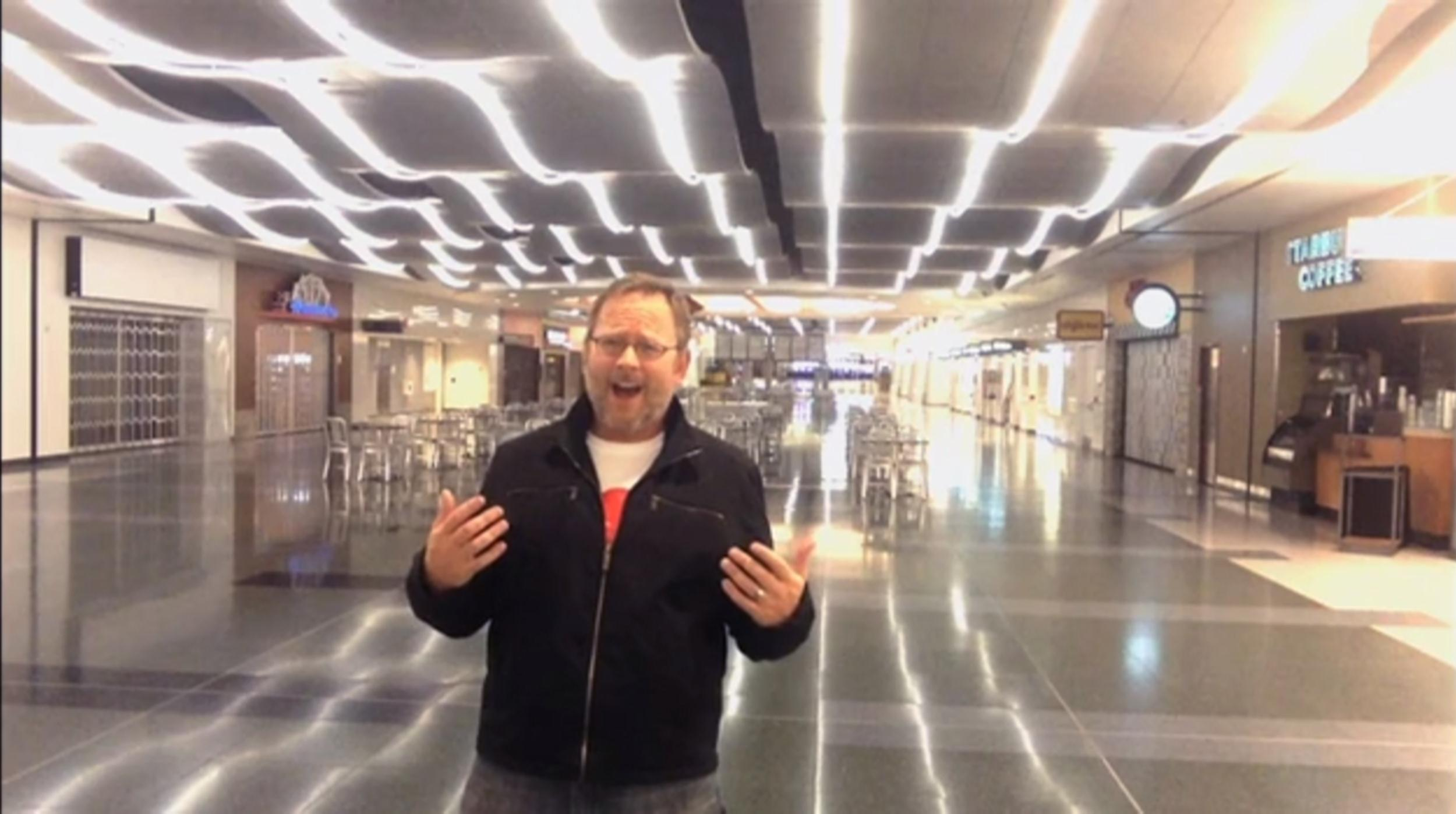 Image: Richard Dunn made a hilarious viral video while overnight in McCarran International Airport in Las Vegas