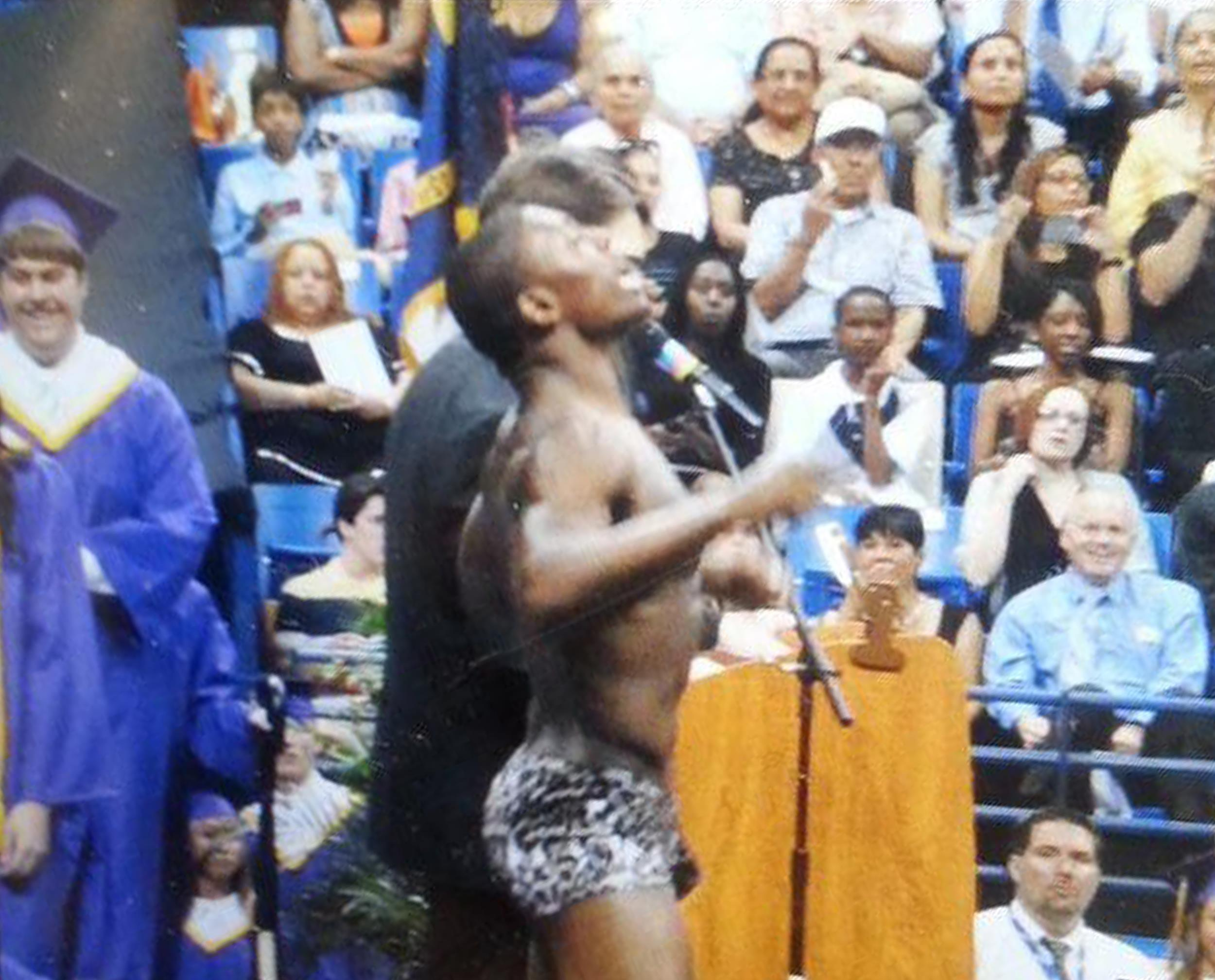 Image: Quinton Murphy stripped down to his underwear during Jack Britt High School graduation in Fayetteville, N.C.