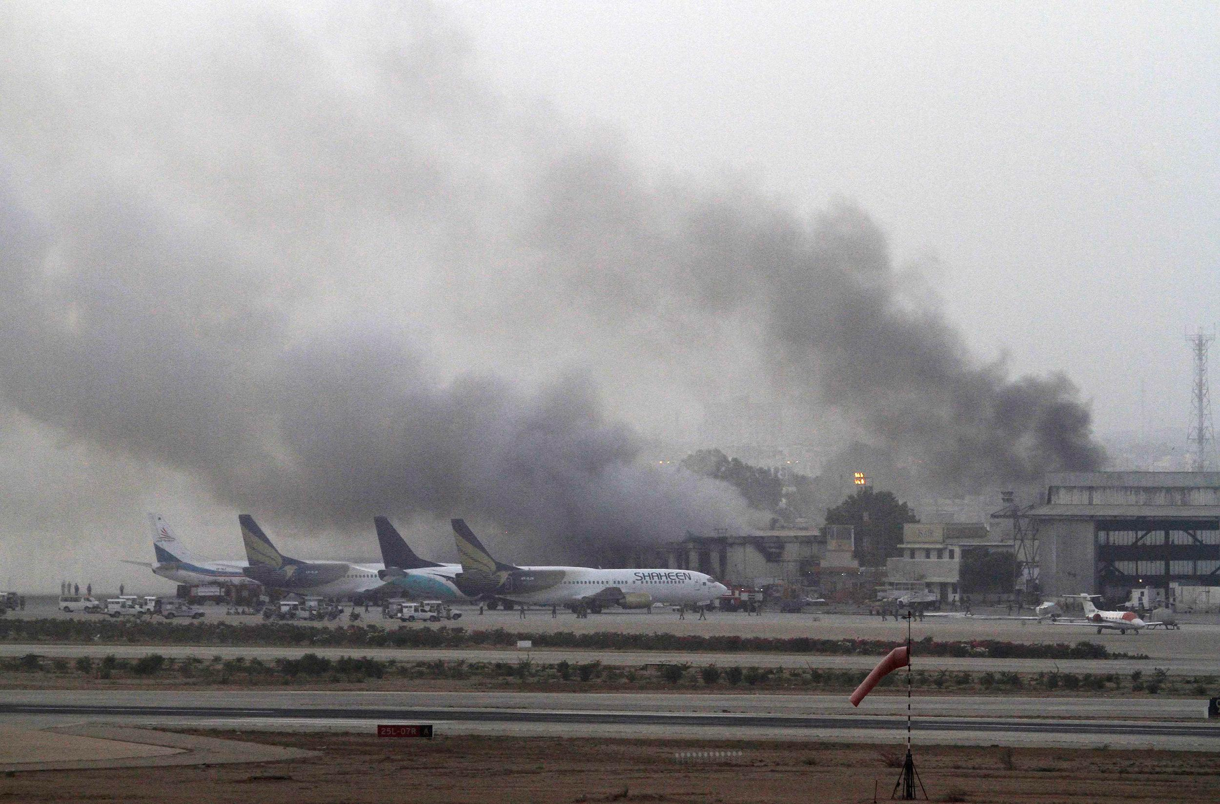 Image: File photo of smoke billowing from Jinnah International Airport in Karachi