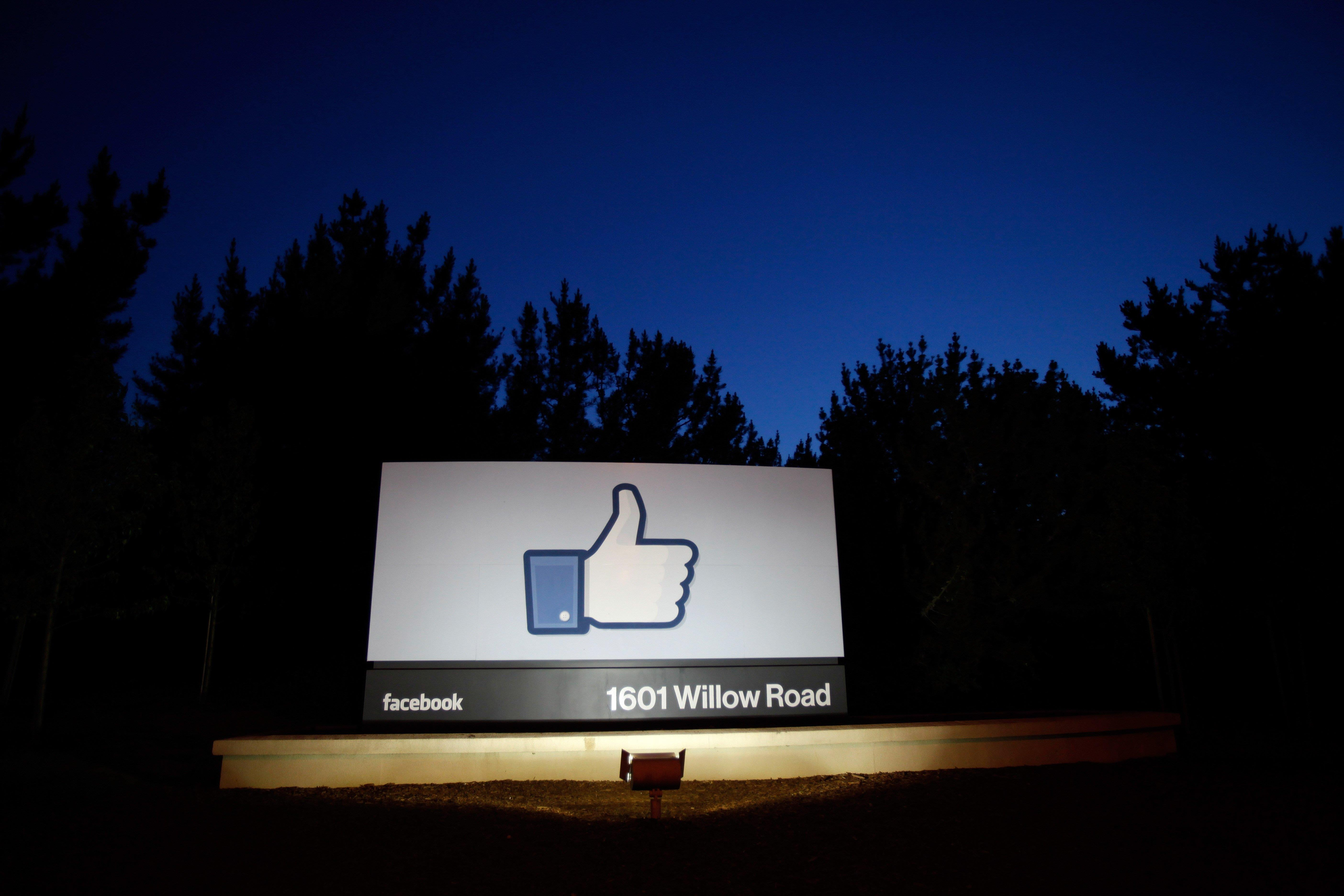 Image:  A 'like' sign at the entrance of Facebook headquarters in Menlo Park, California