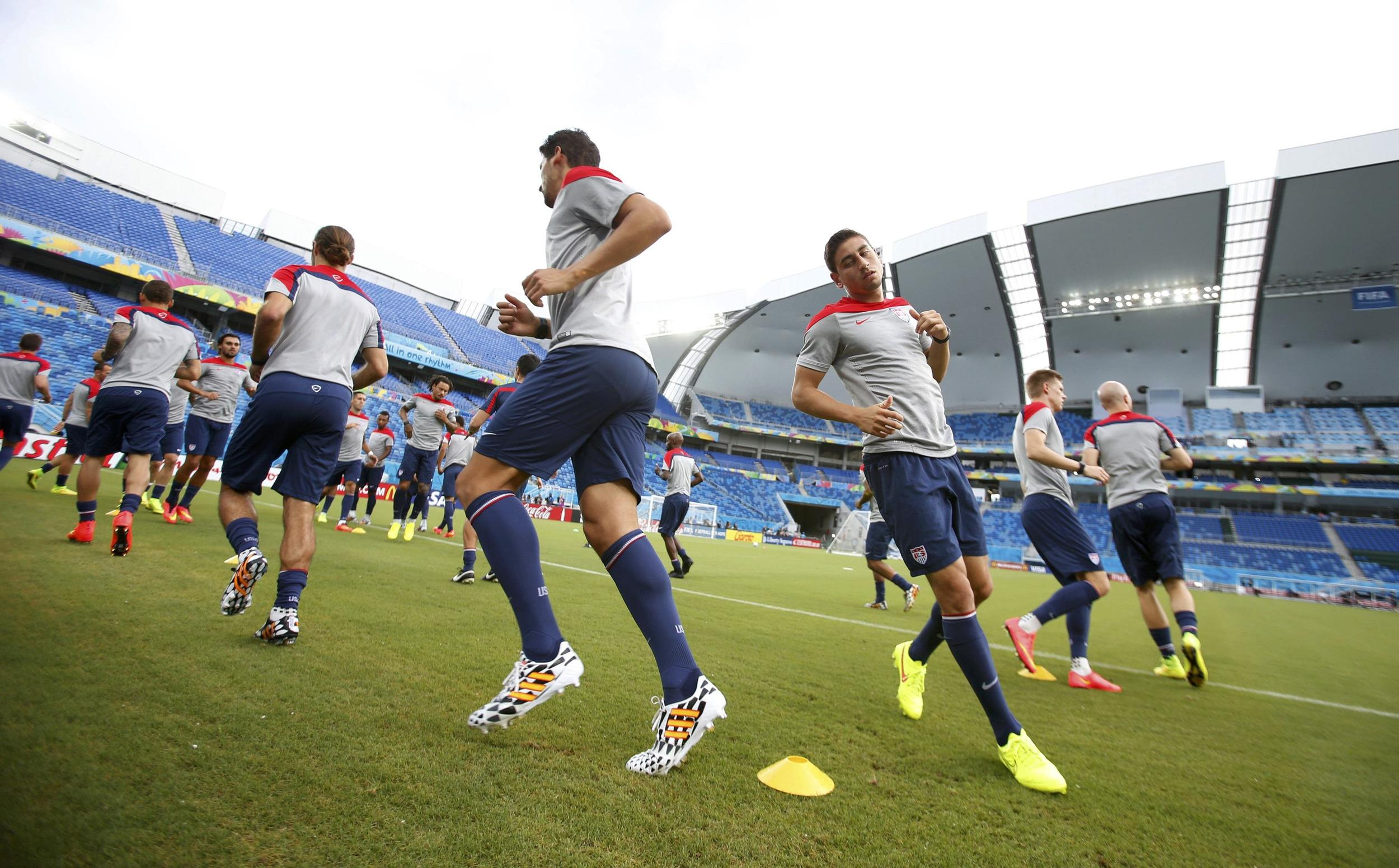 Image: U.S. national soccer team players attend a training session at the Dunas Arena soccer stadium in Natal