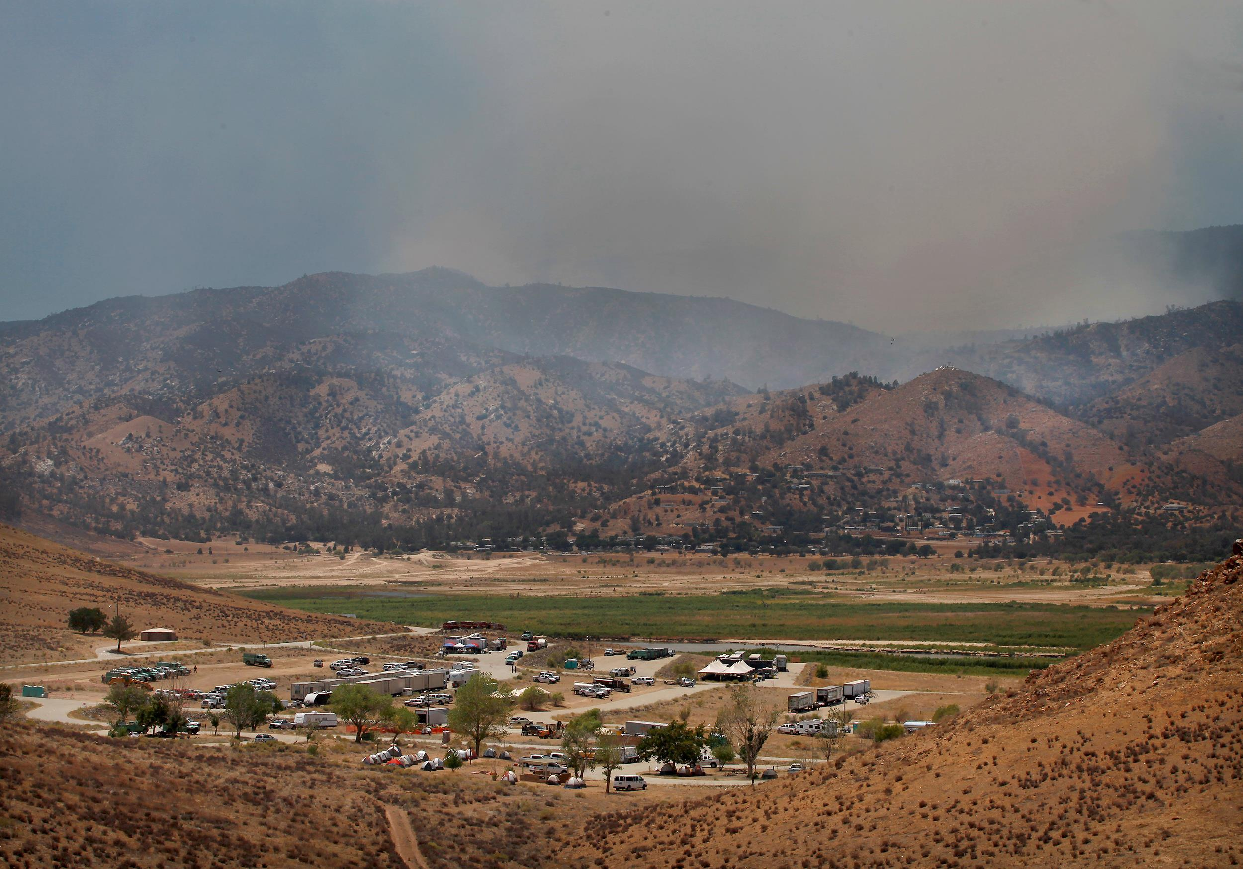 Image: The fire camp for the Shirley Fire at Camp Nine, near Kernville, Calif., on June 15, from the several day old wildfire.