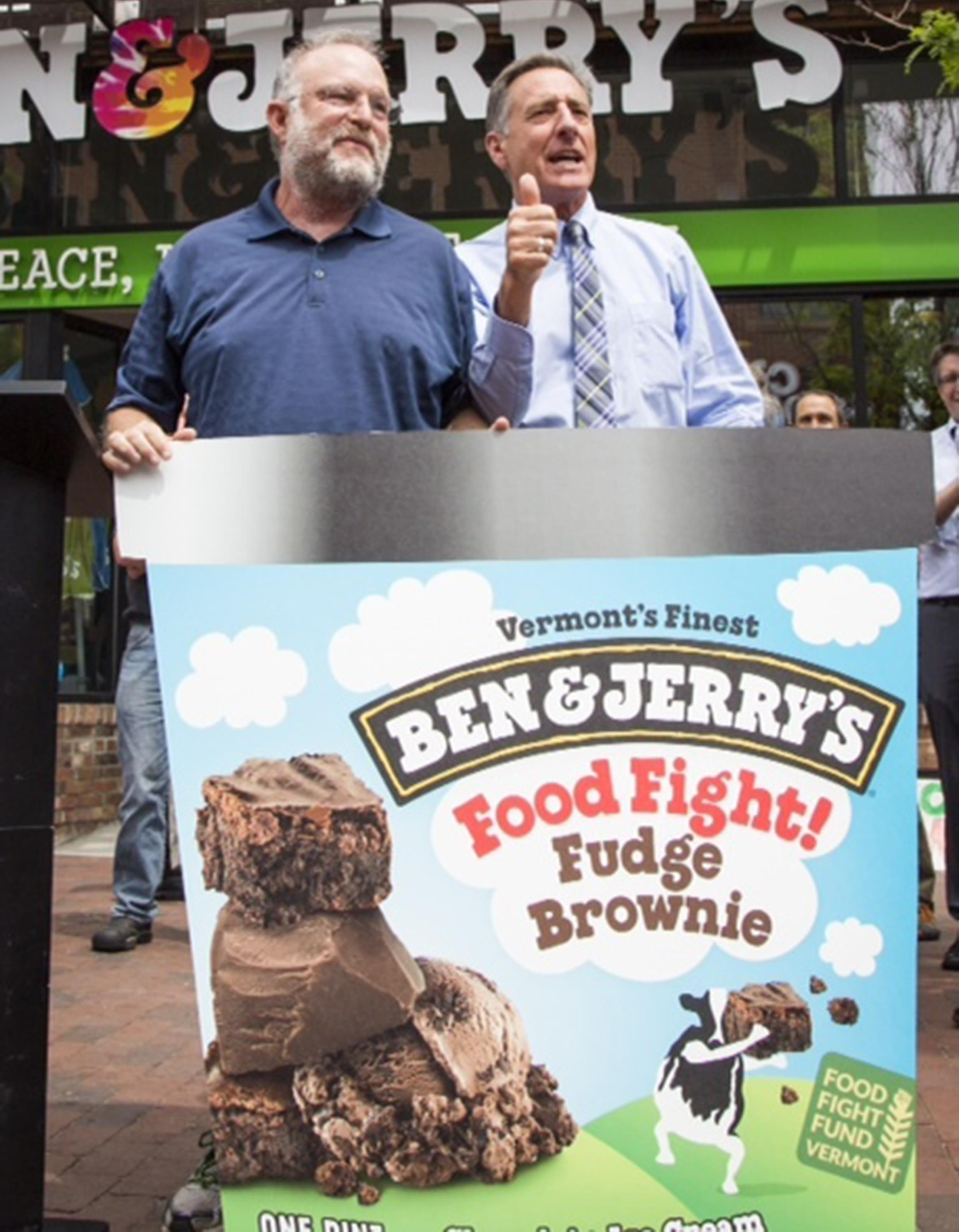 Image: Ben & Jerry's co-founder, Jerry Greenfield and Governor, Peter Shumlin unveil new Food Fight Fund flavor
