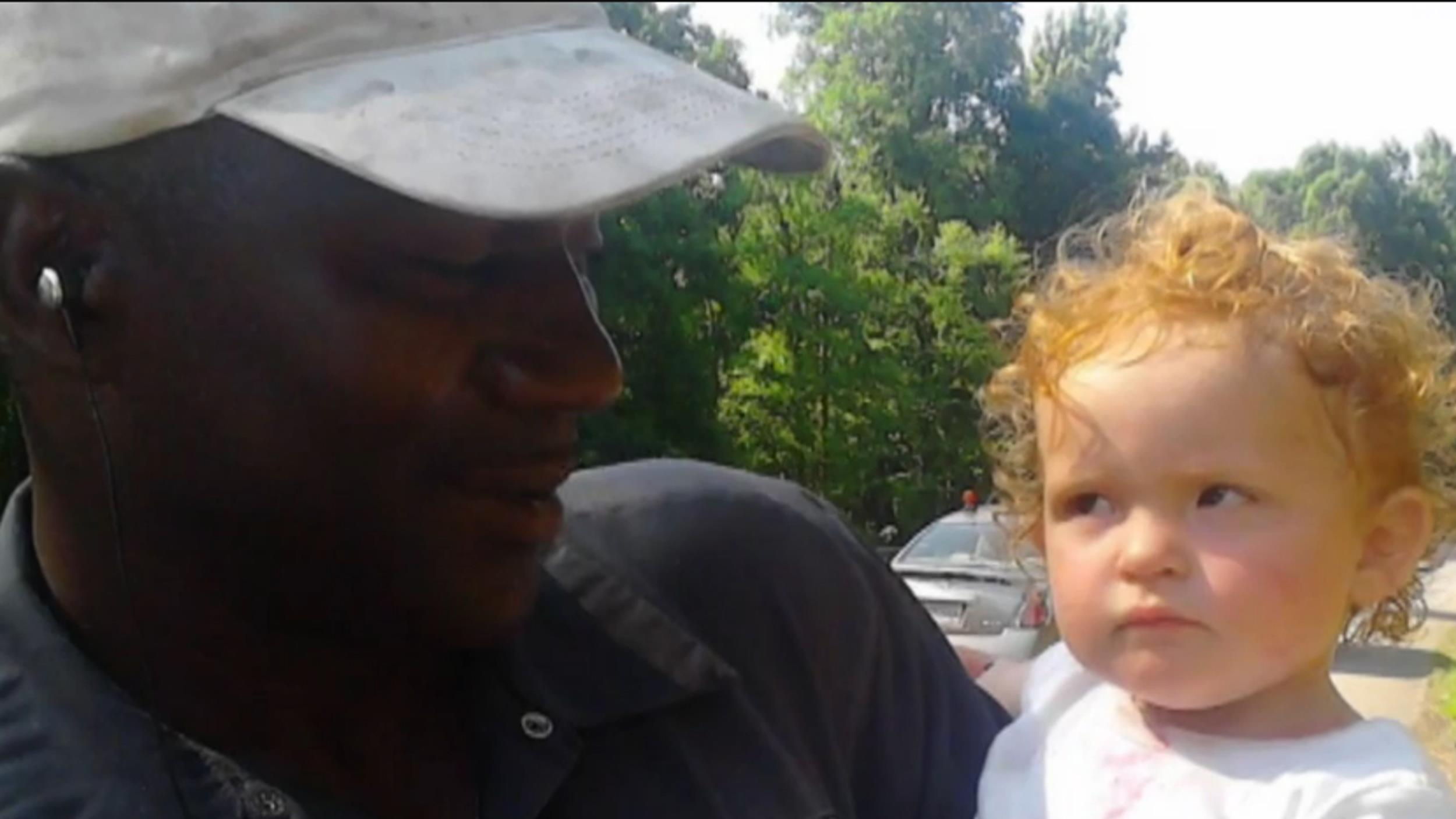 Image: Bryant Collins saved the life of this 15-month-old baby, when he found her on the side of the highway in Georgia.
