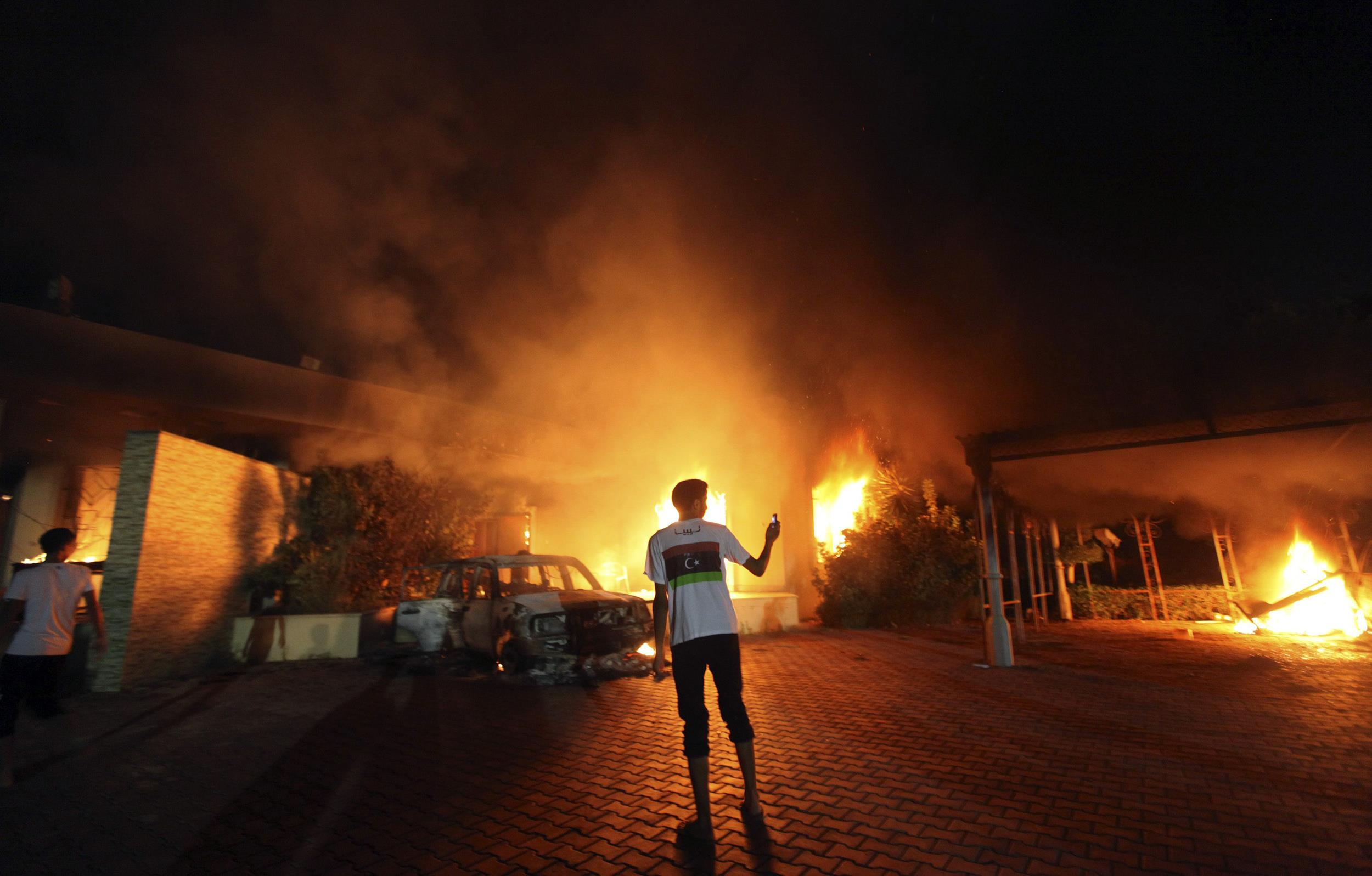 Image: The U.S. Consulate in Benghazi is seen in flames on Setp. 11, 2012.