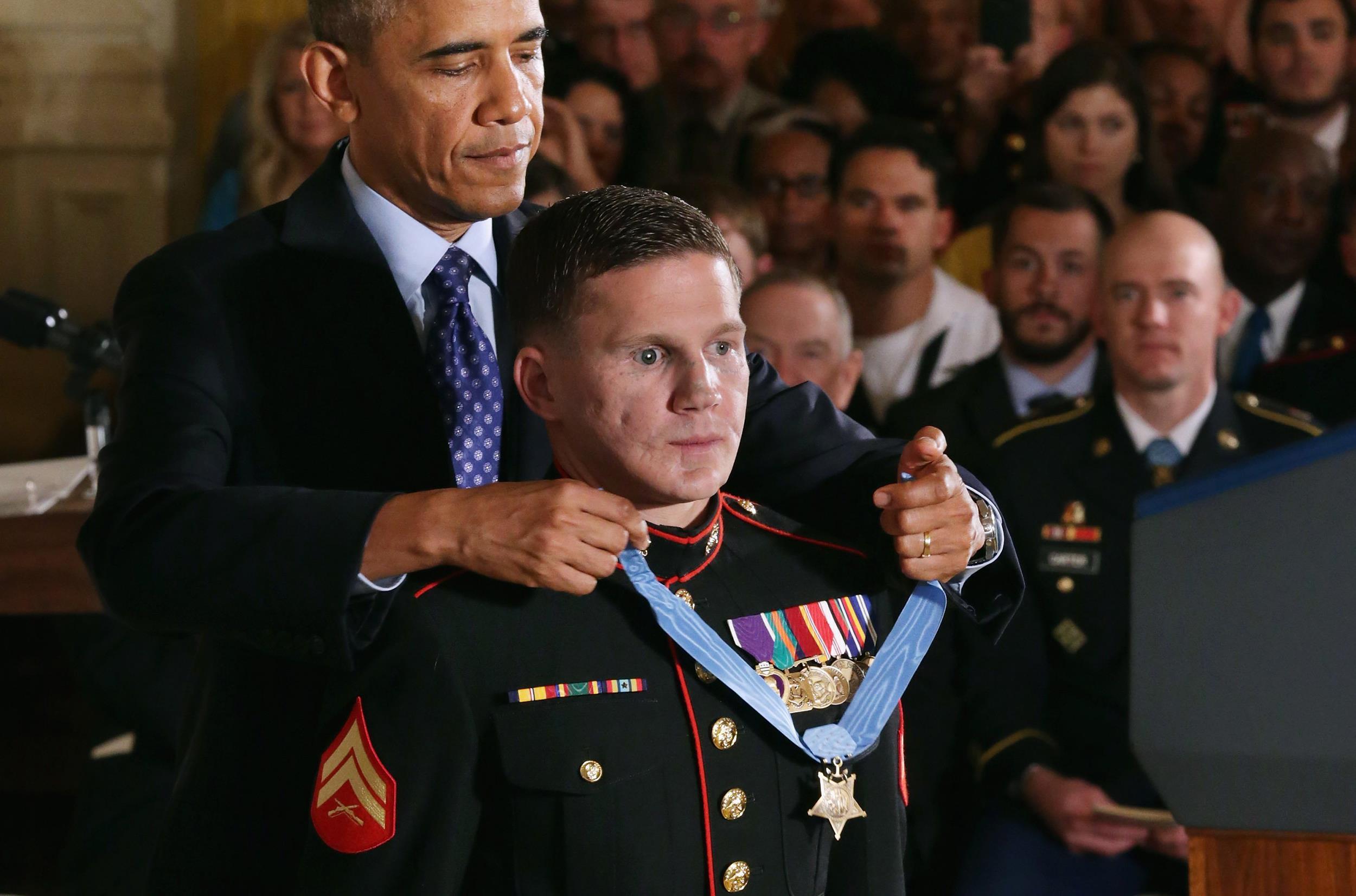 Image: President Obama Awards Medal Of Honor To Marine William Kyle Carpenter