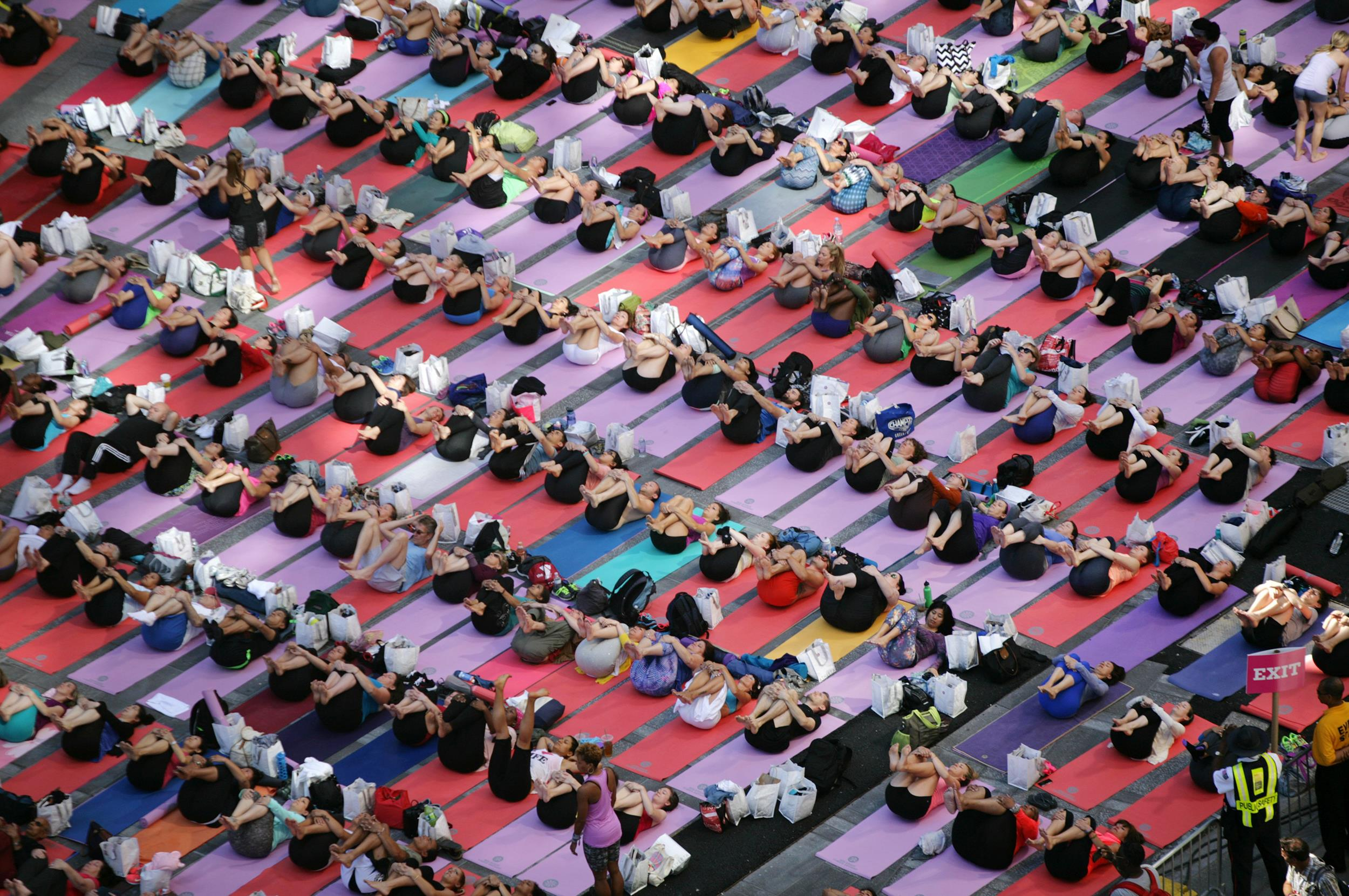 Image: Mass Yoga Classes In New York's Times Square Mark Summer Solstice