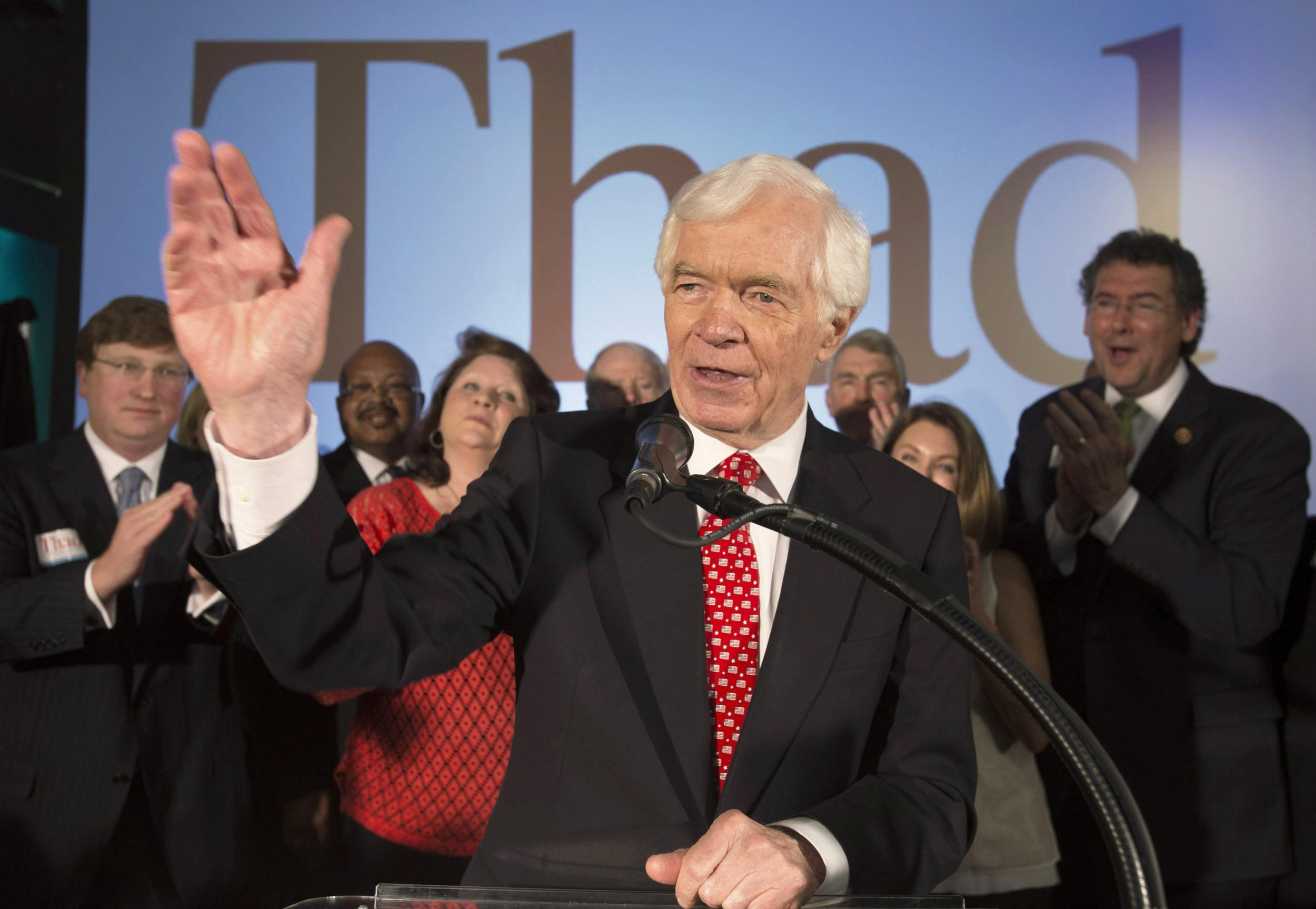 Image: Republican U.S. Senator Thad Cochran addresses supporters during an election night celebration in Jackson, Mississippi
