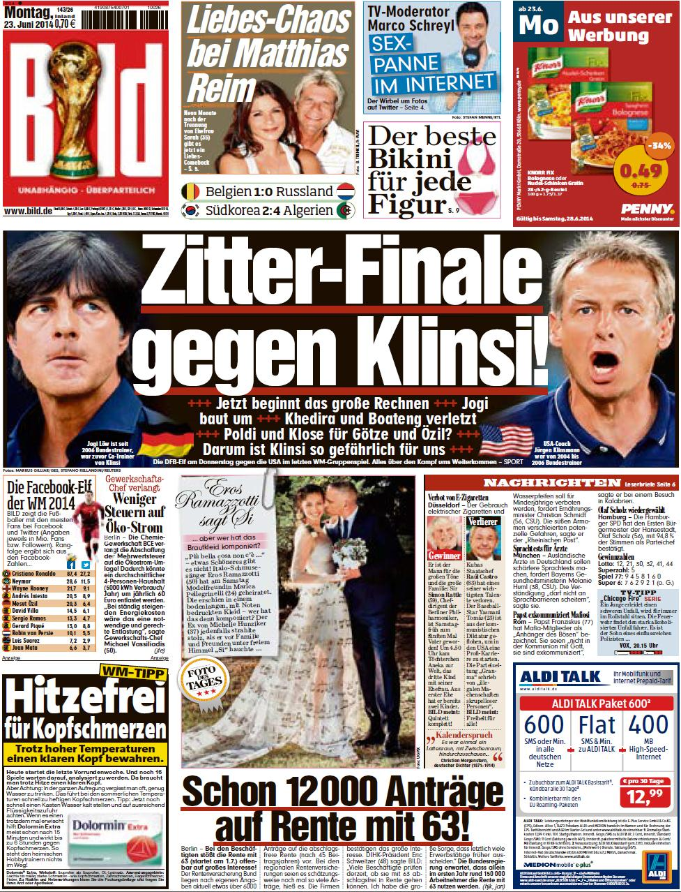 Image: Germany's Bild newspaper featured the headline