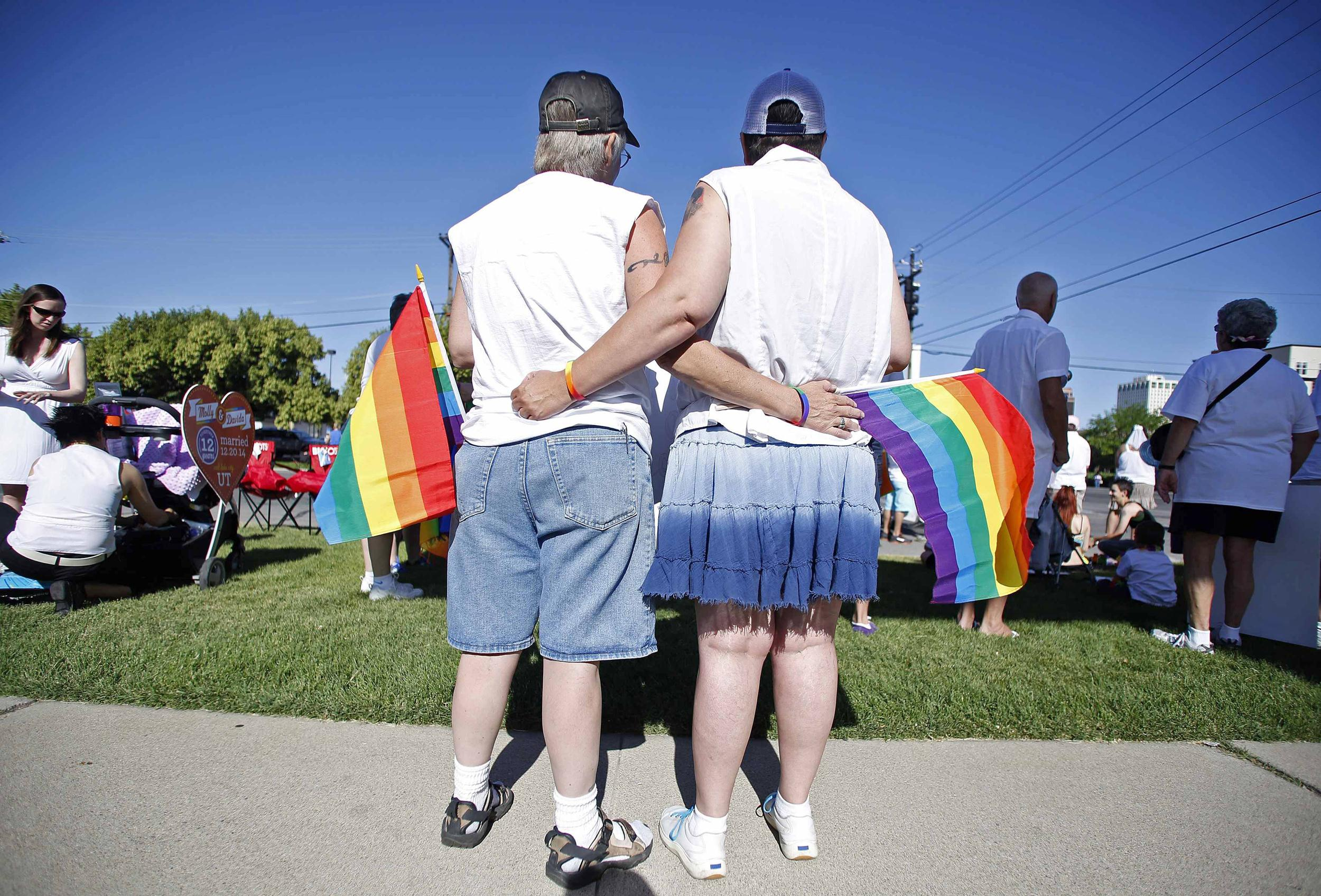 Image: Skinner and her wife Belka wait for the beginning of the Utah Pride Parade in Salt Lake City