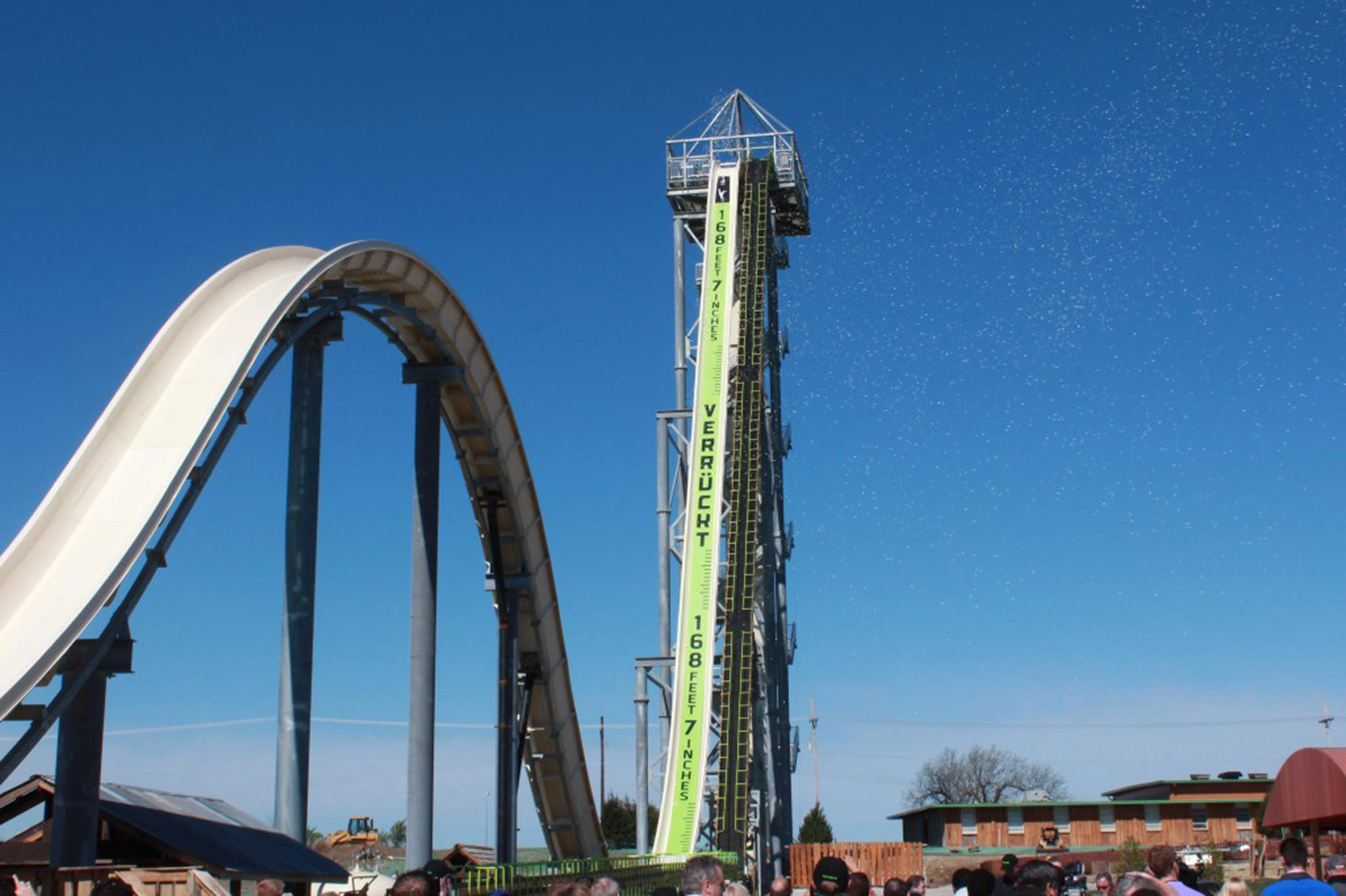 Image: Verrückt, which takes its name from the German word for insane, is 17 stories tall and sends riders on a 65-mph descent that includes a water-powered blast up and over a second, 50-foot hill.