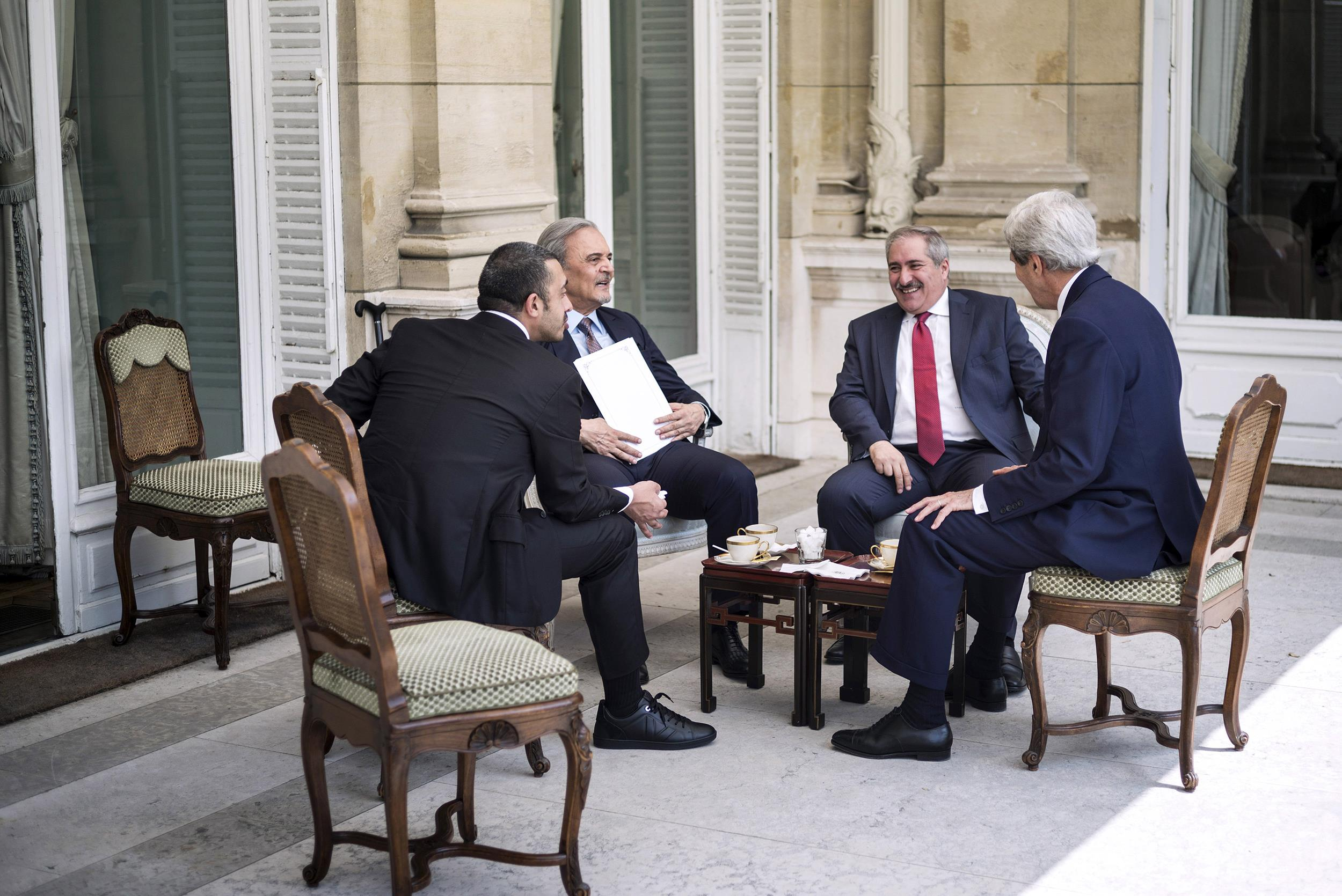 Image: From left, Emirati Foreign Minister Sheikh Abdullah bin Zayed al-Nahyan, Saudi Arabia's Foreign Minister Prince Saud al-Faisal, Jordanian Foreign Minister Nasser Judeh and U.S. Secretary of State John Kerry
