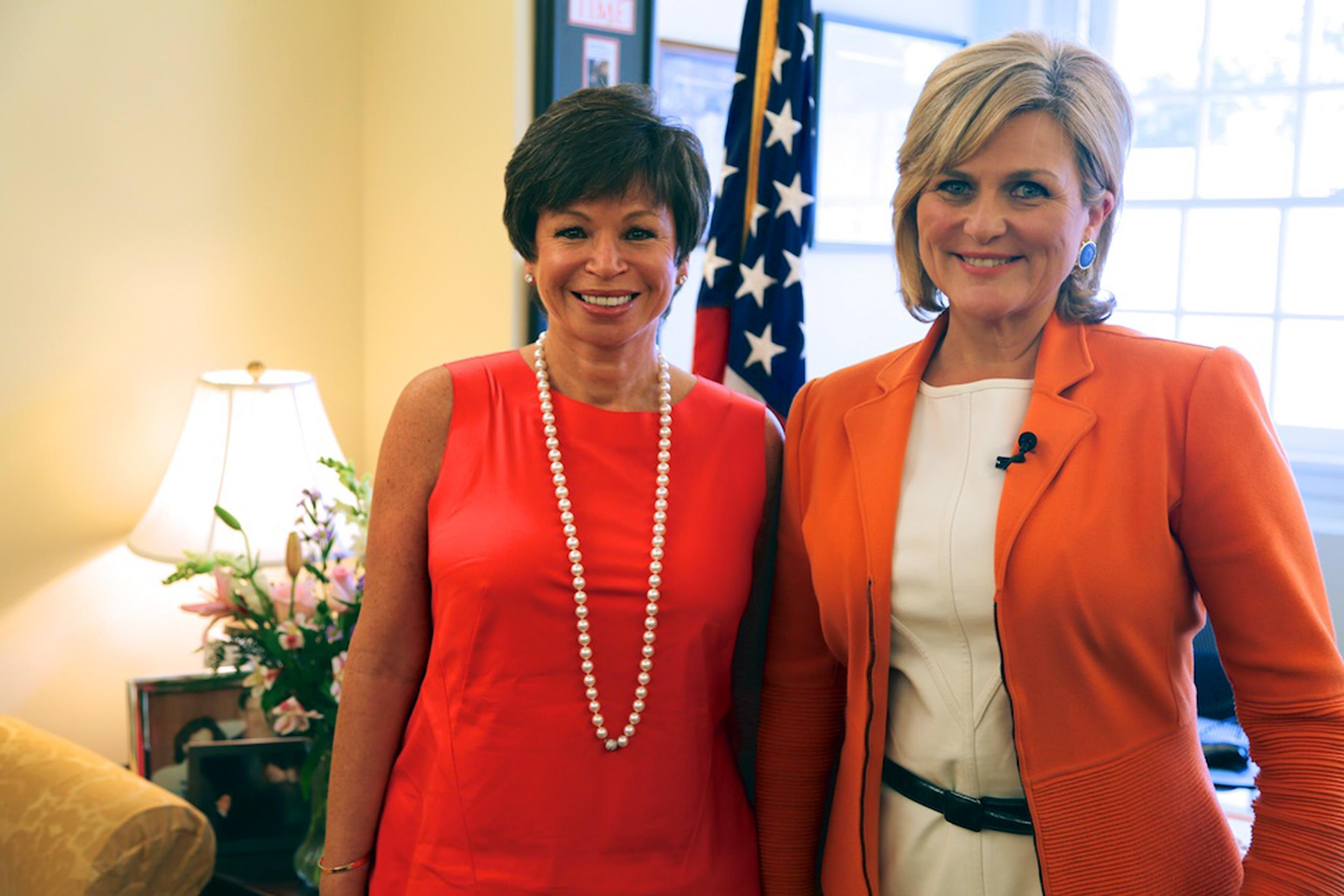 Image: Cynthia McFadden of NBC News in the White House with Valerie Jarrett, senior adviser to President Obama.