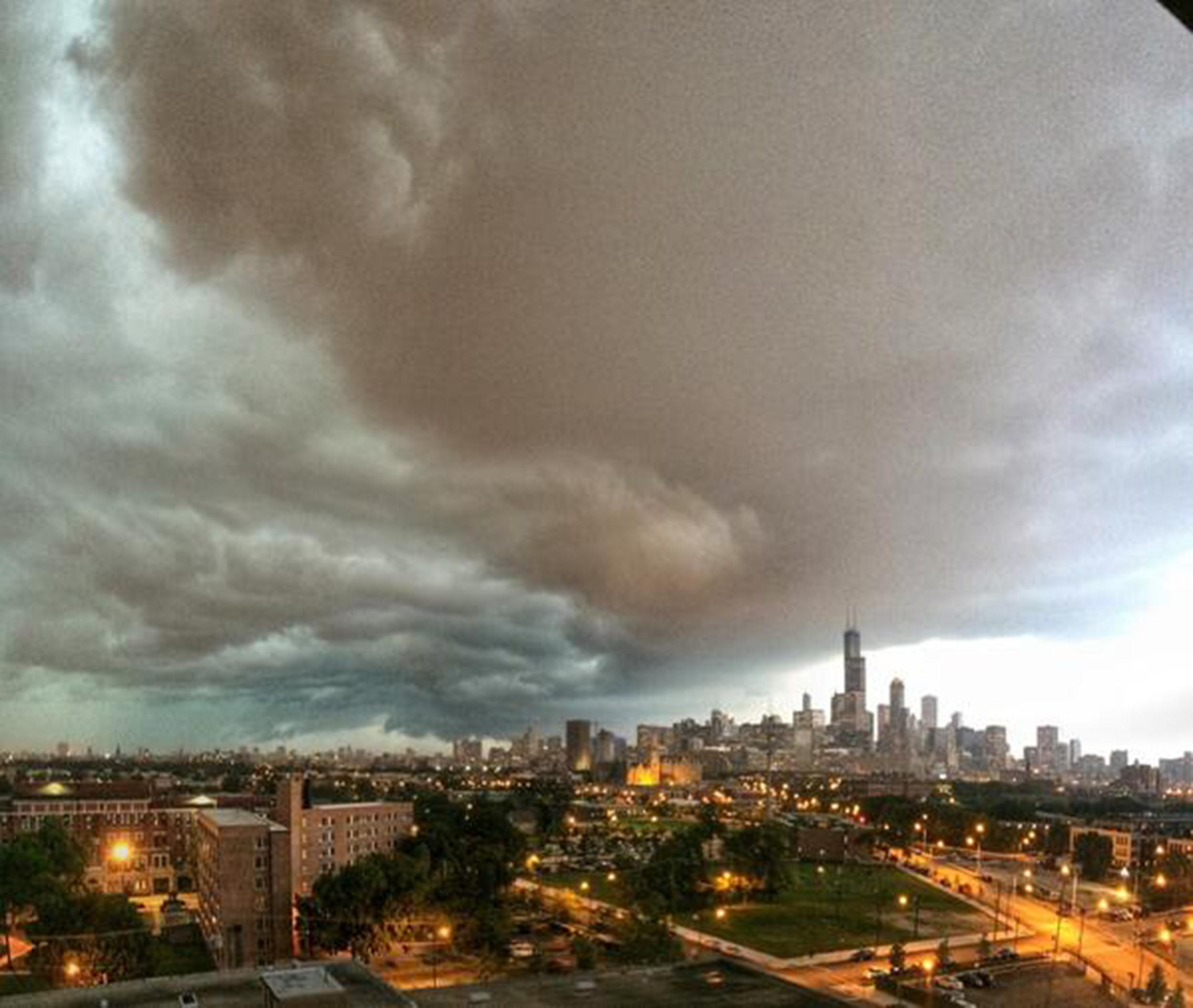 Image: Storm clouds descend on Chicago on Monday evening.