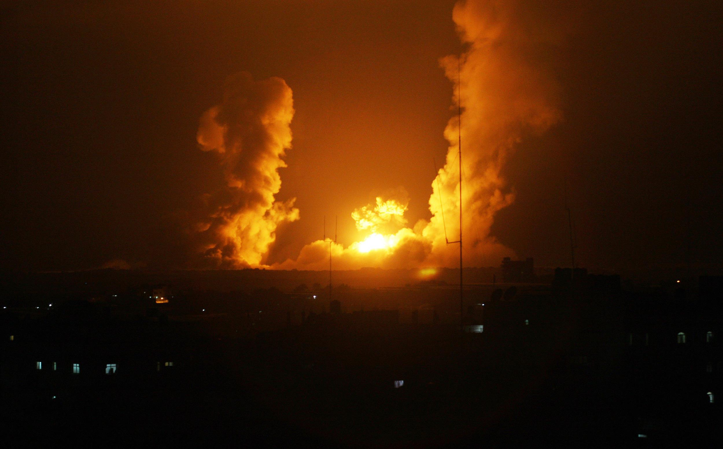 Image: A ball of fire is seen following an Israel airstrike in Rafah, southern Gaza, on July 1