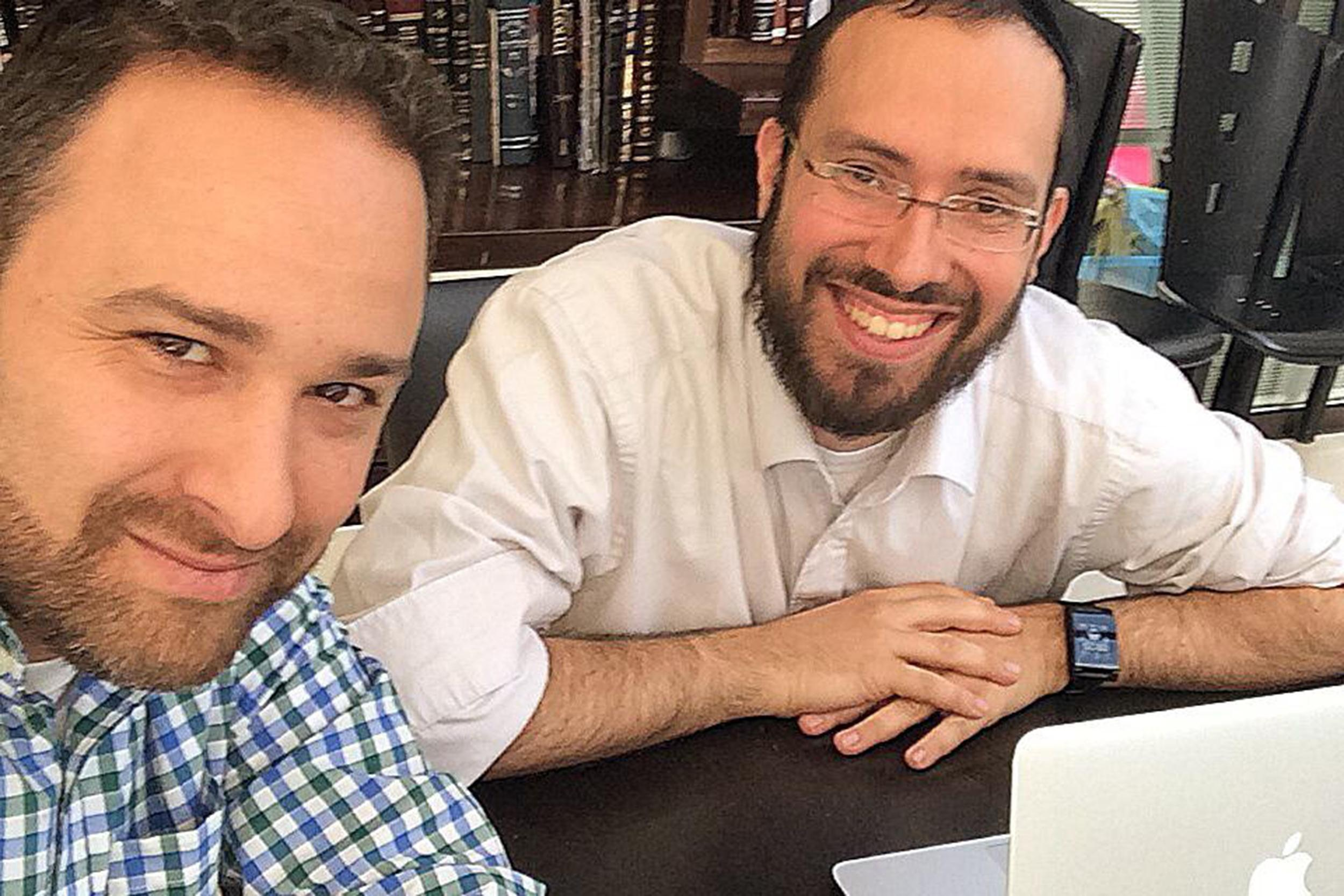Image: Tech advisor, Hillel Fuld, left, meets with Jeremie Berrebi of Kima Ventures, a haredi angel investor