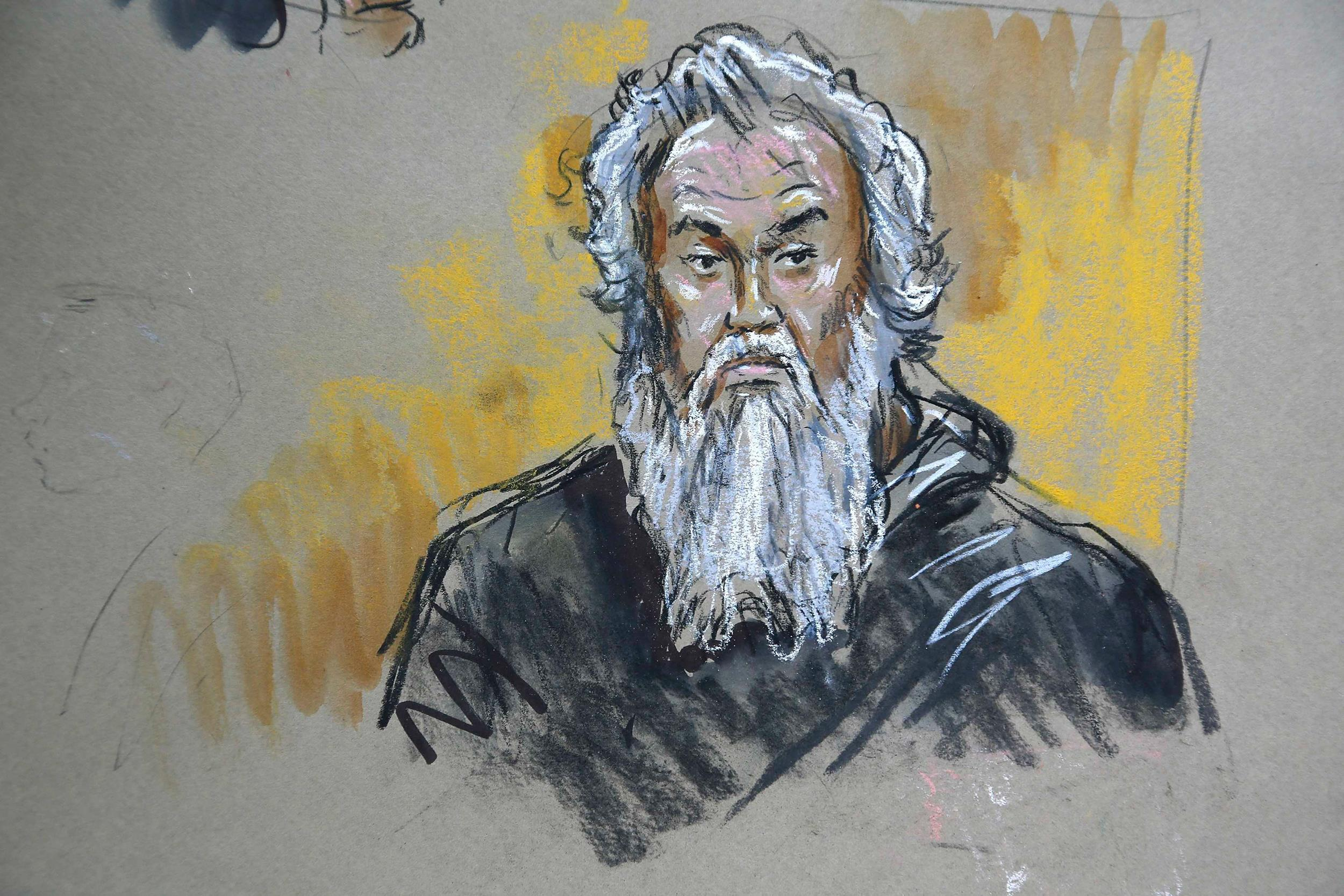 Image: A courtroom sketch depicts Abu Ahmed Khattala in U.S. federal court in Washington