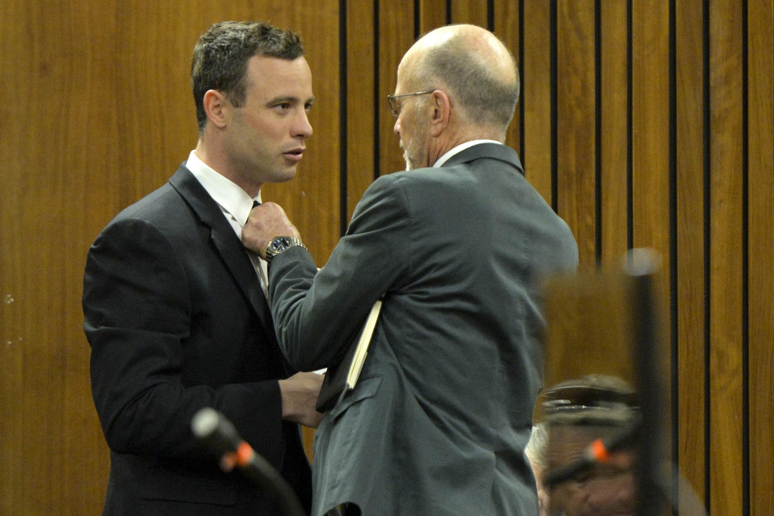 Image: Oscar Pistorius and his uncle on Thursday