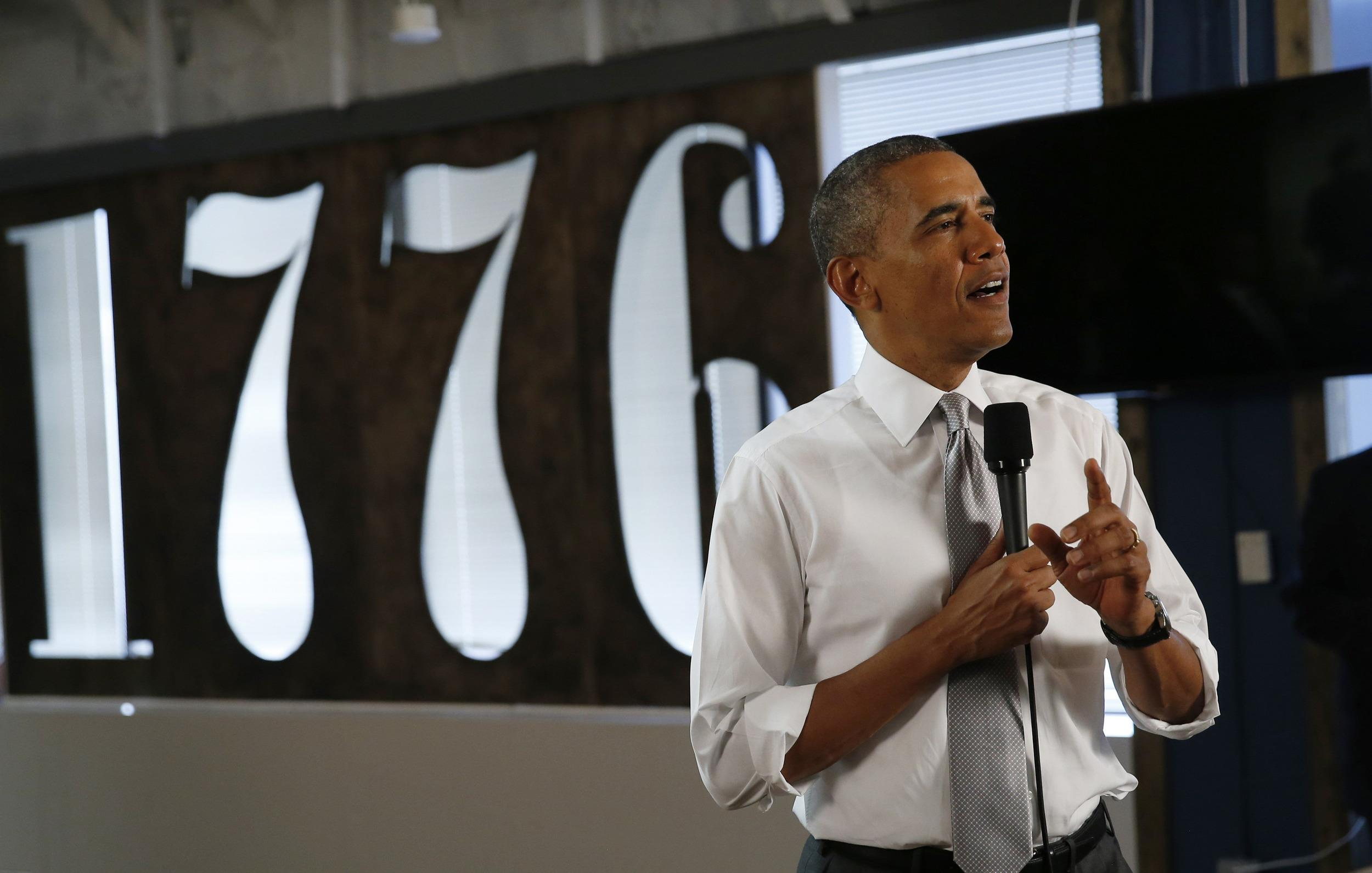 Image: U.S. President Obama speaks about the job numbers and the economy during a visit to 1776, a tech startup hub, in Washington