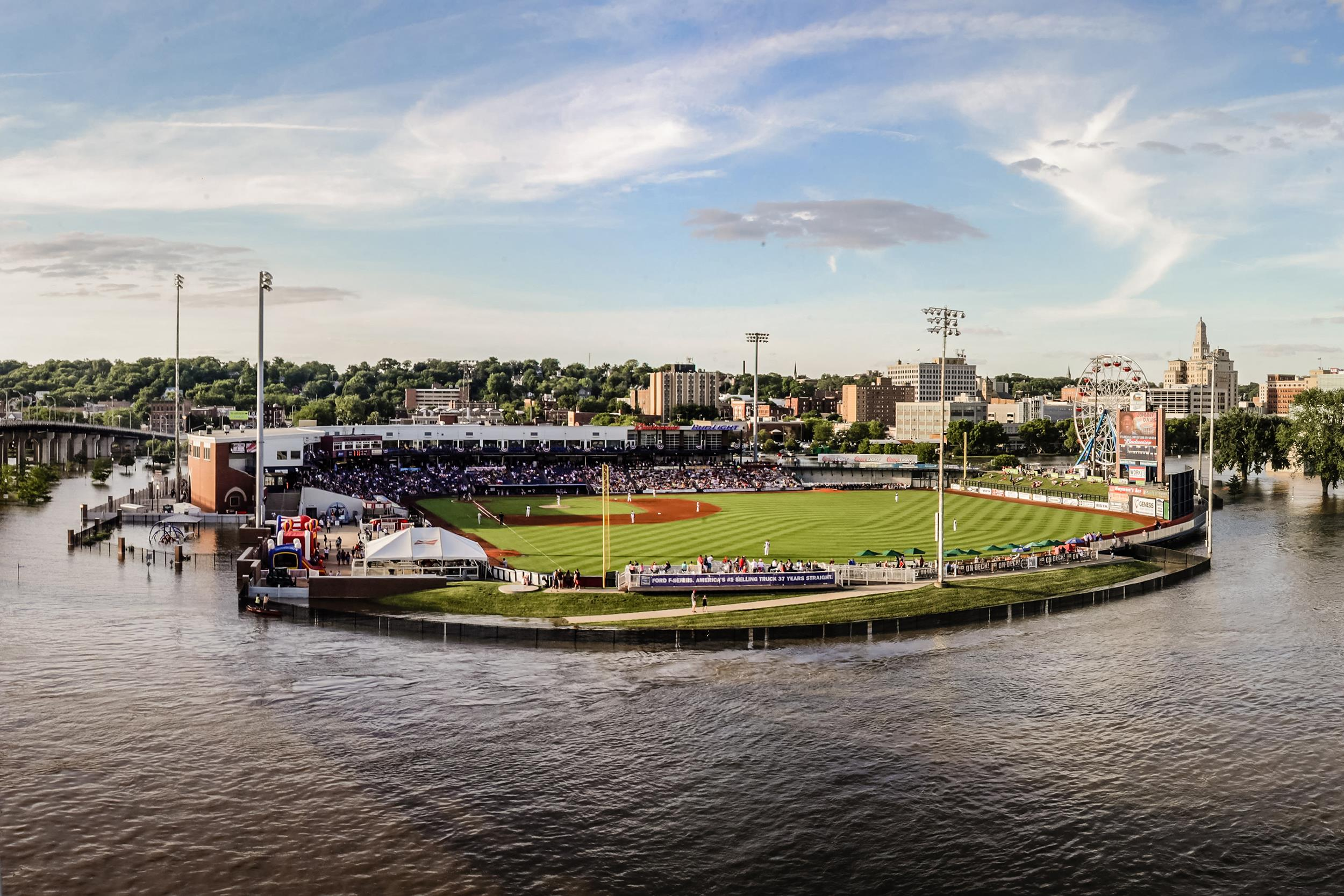 Image: The Astros Minor League Ball Park is surrounded by water from the Mississippi River, in Davenport, Iowa.