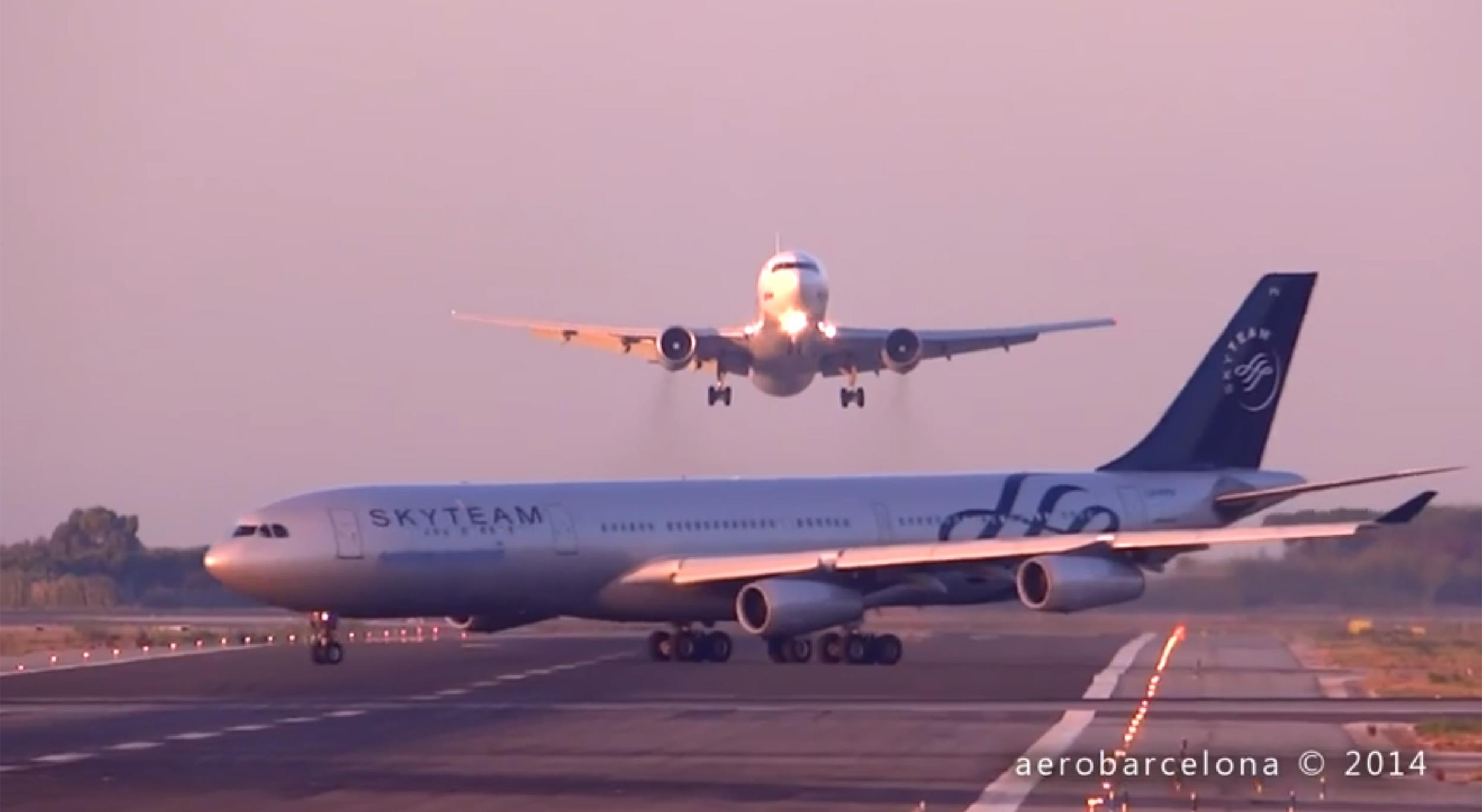 Two planes involved in a near miss at Barcelona Airport.