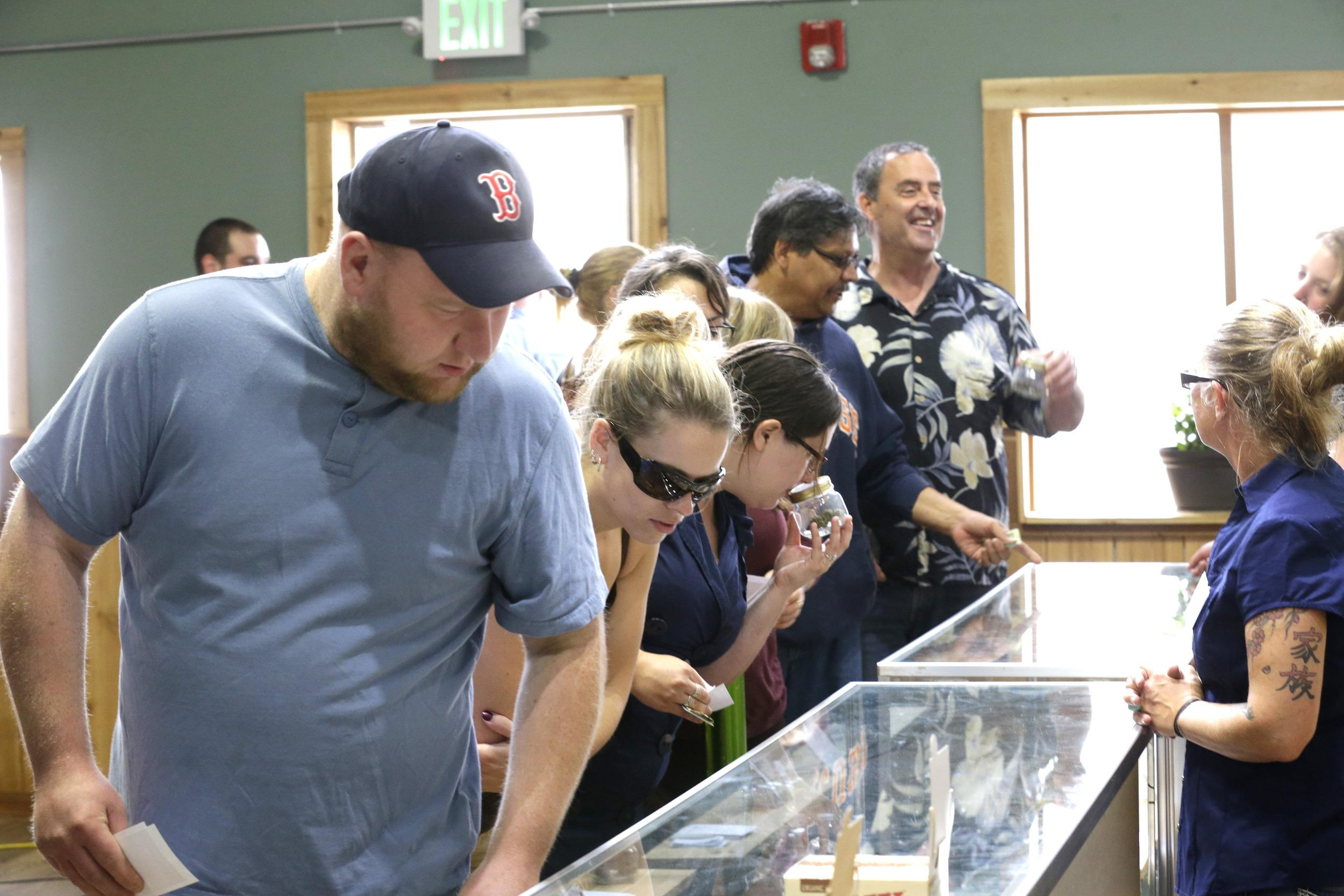 Image: The first day of legal recreational marijuana sales in Washington state.