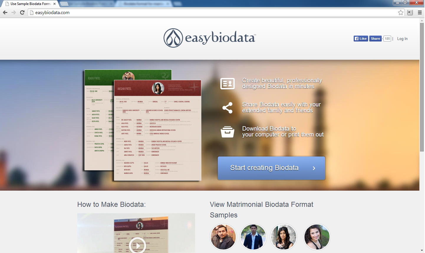 The website for EasyBioData.com.