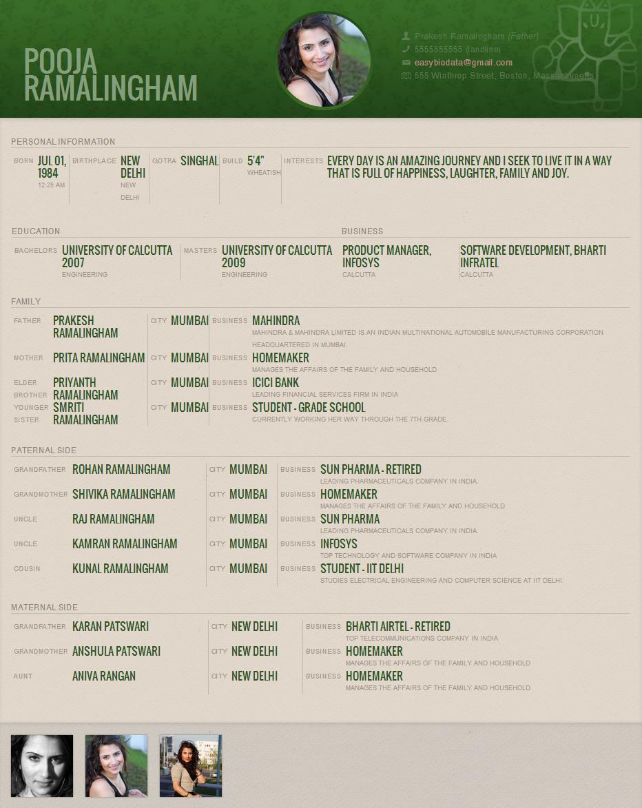 A sample biodata form from easyBiodata.com