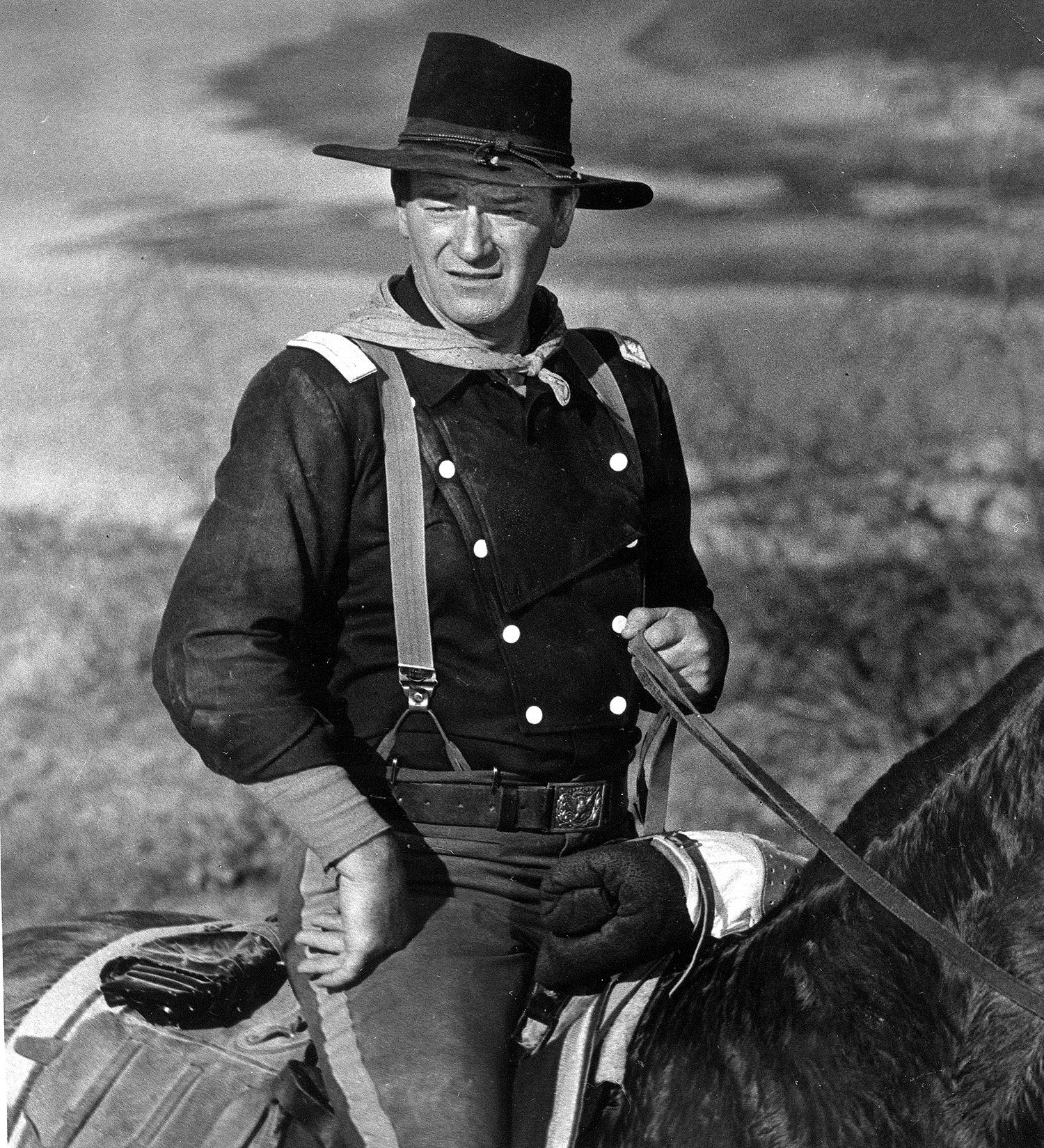 Image: John Wayne is seen during the filming of