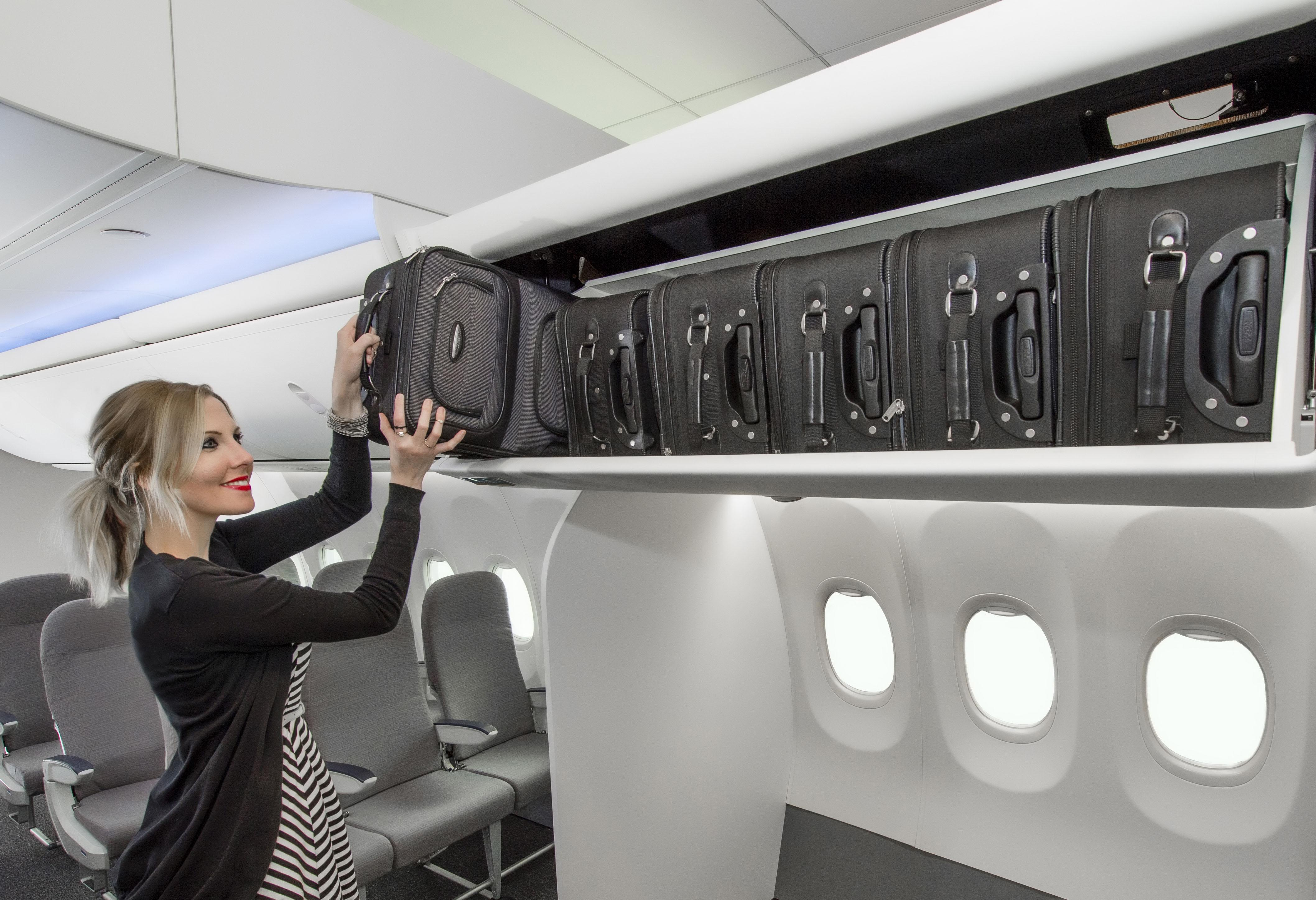 Image: Boeing's new Space Bins stow six standard carry-on bags.