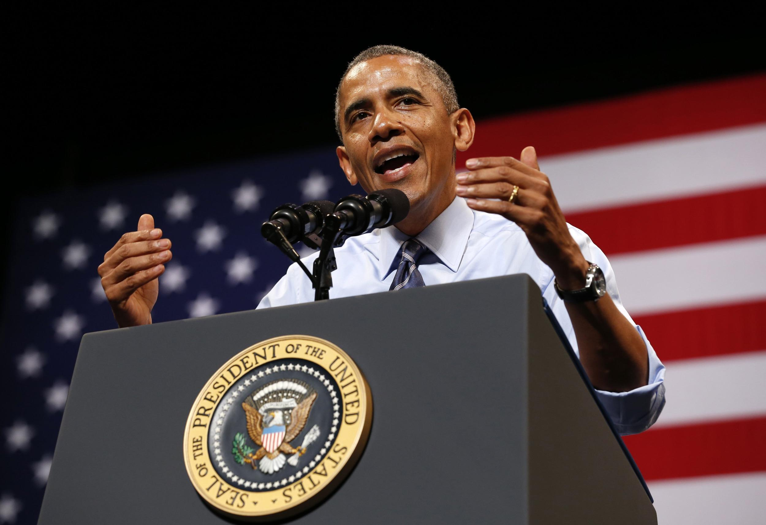 Image: Obama speaks about the economy in Austin, Texas