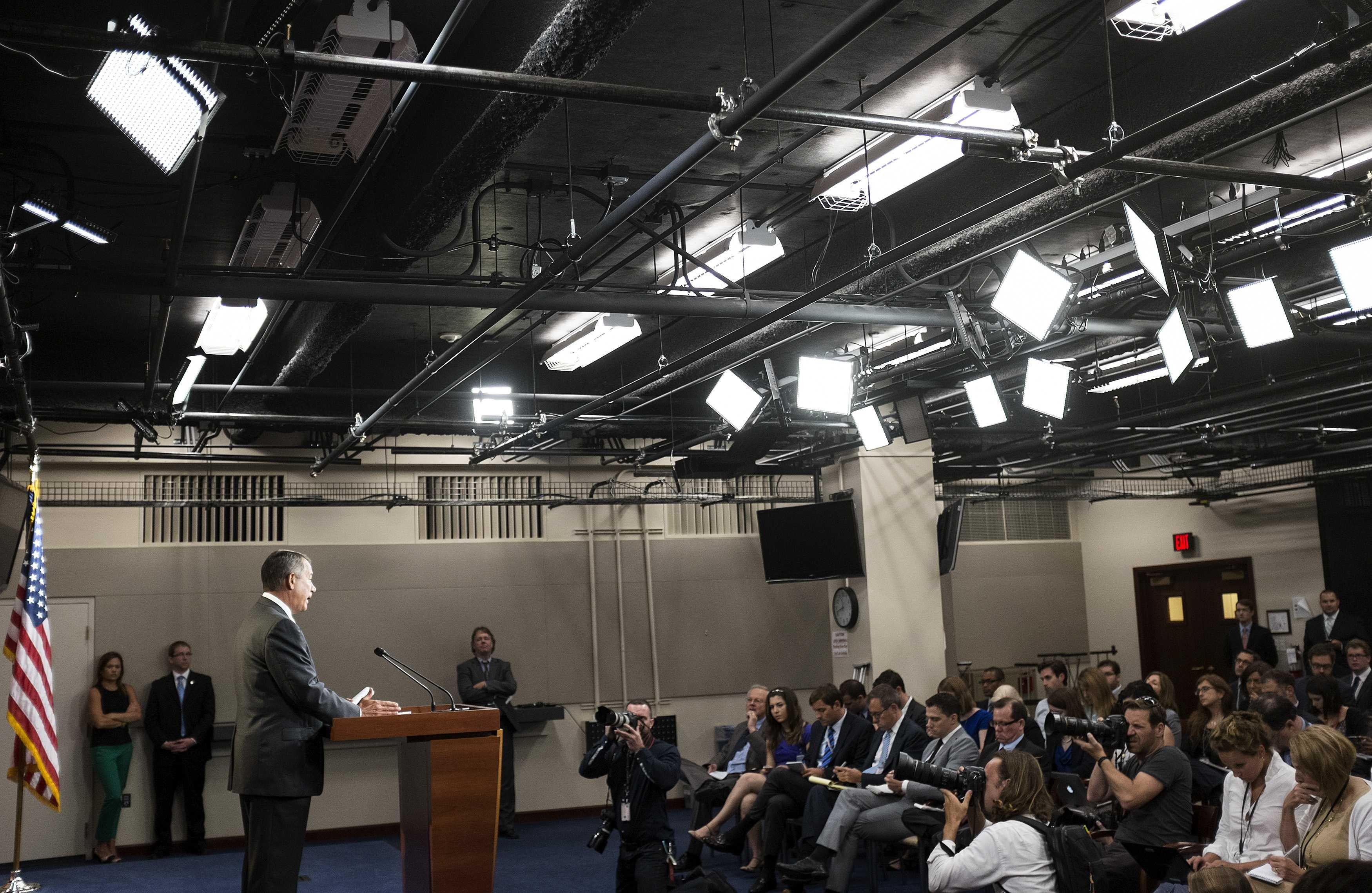 Image: Speaker of the House John Boehner speaks to the media on Capitol Hill in Washington