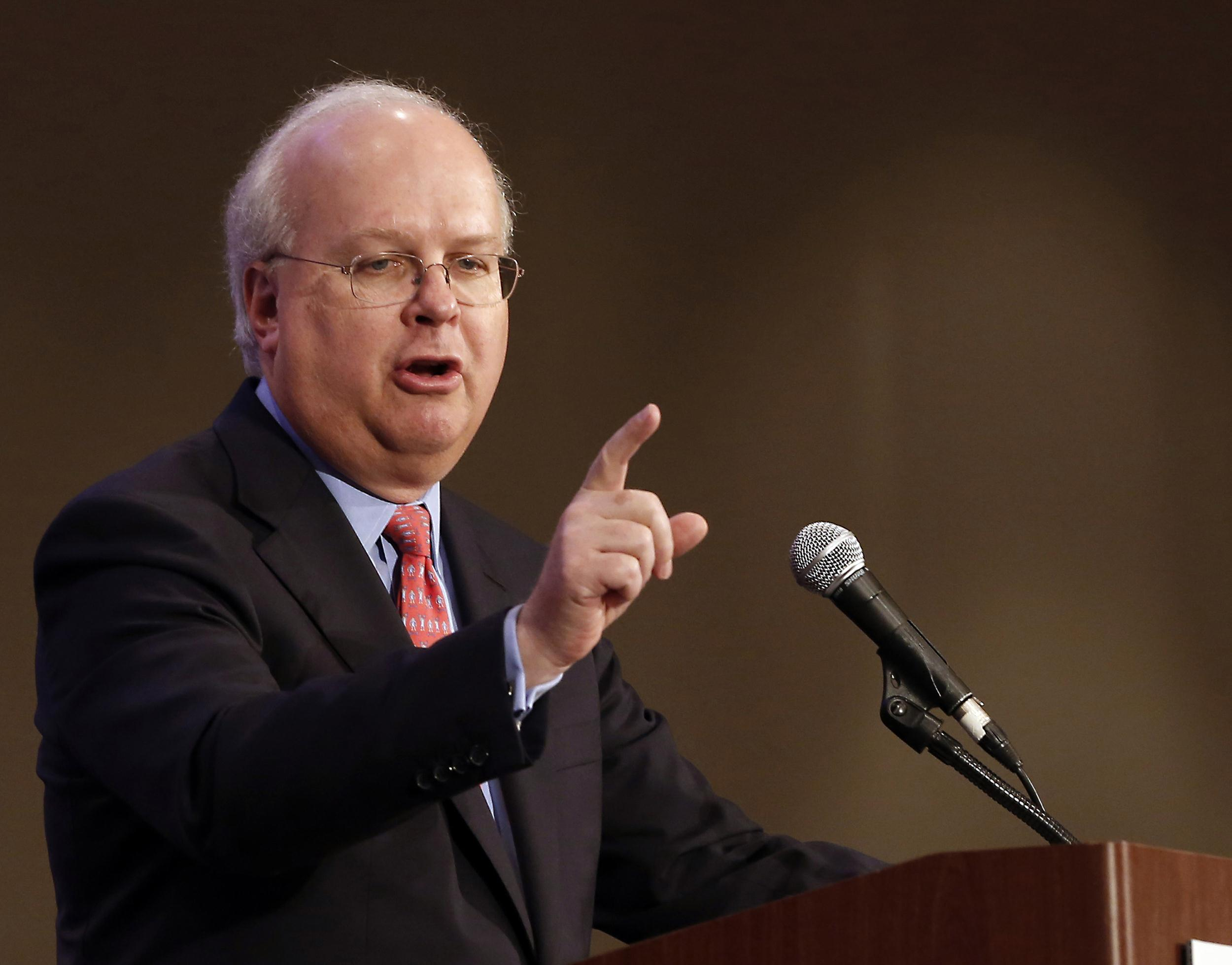 Image: Republican strategist Karl Rove speaking in Sacramento, Calif. on March 2, 2013.