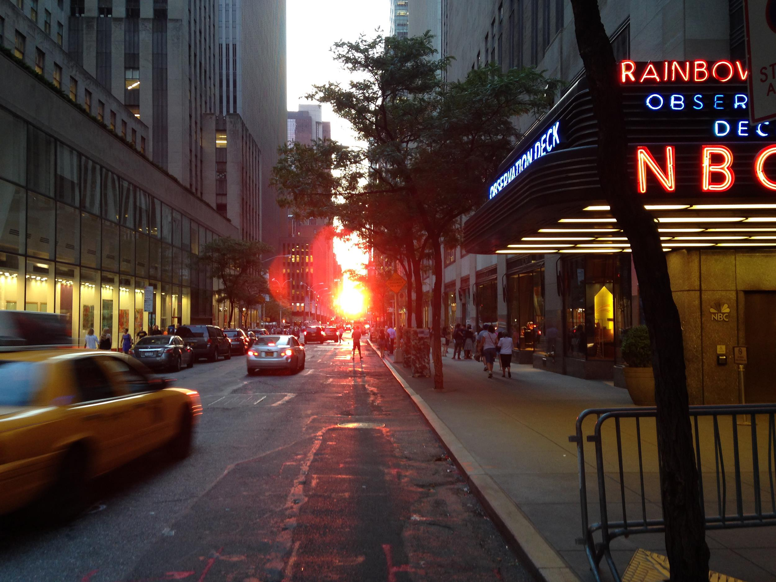 Images: The view of Manhattenhenge from outside 30 Rockefeller Plaza