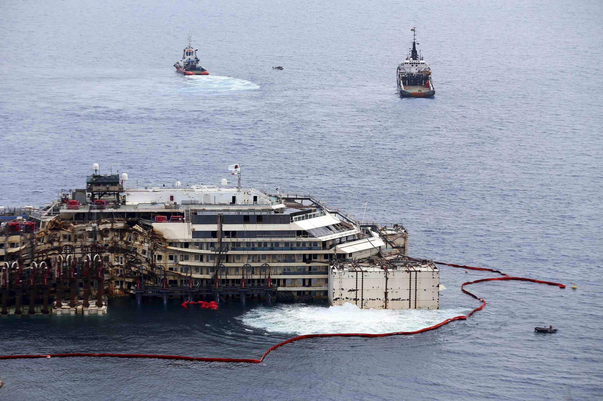 Image: Cruise liner Costa Concordia is seen during a refloat operation at Giglio harbour at Giglio Island