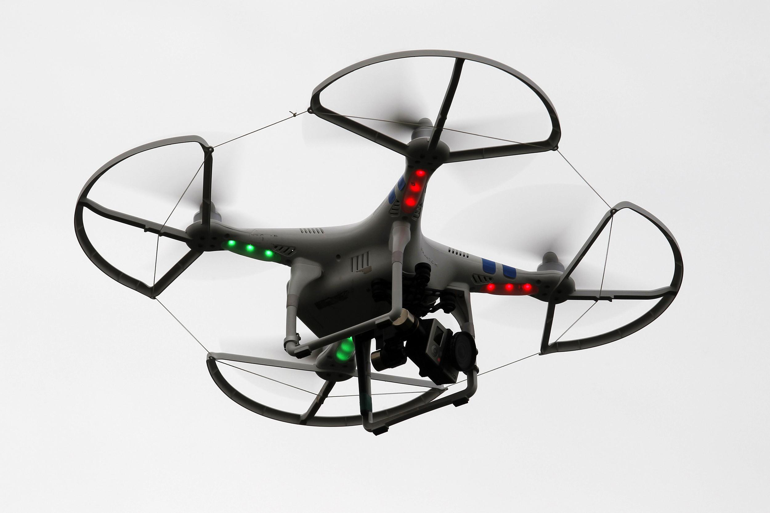 Image: A flying drone camera used by Hamas