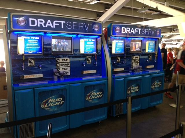 Self-serve beer stations made by Draft Serv are shown at Target Field, where fans attending MLB's All-Star Game will get a chance to check them out.
