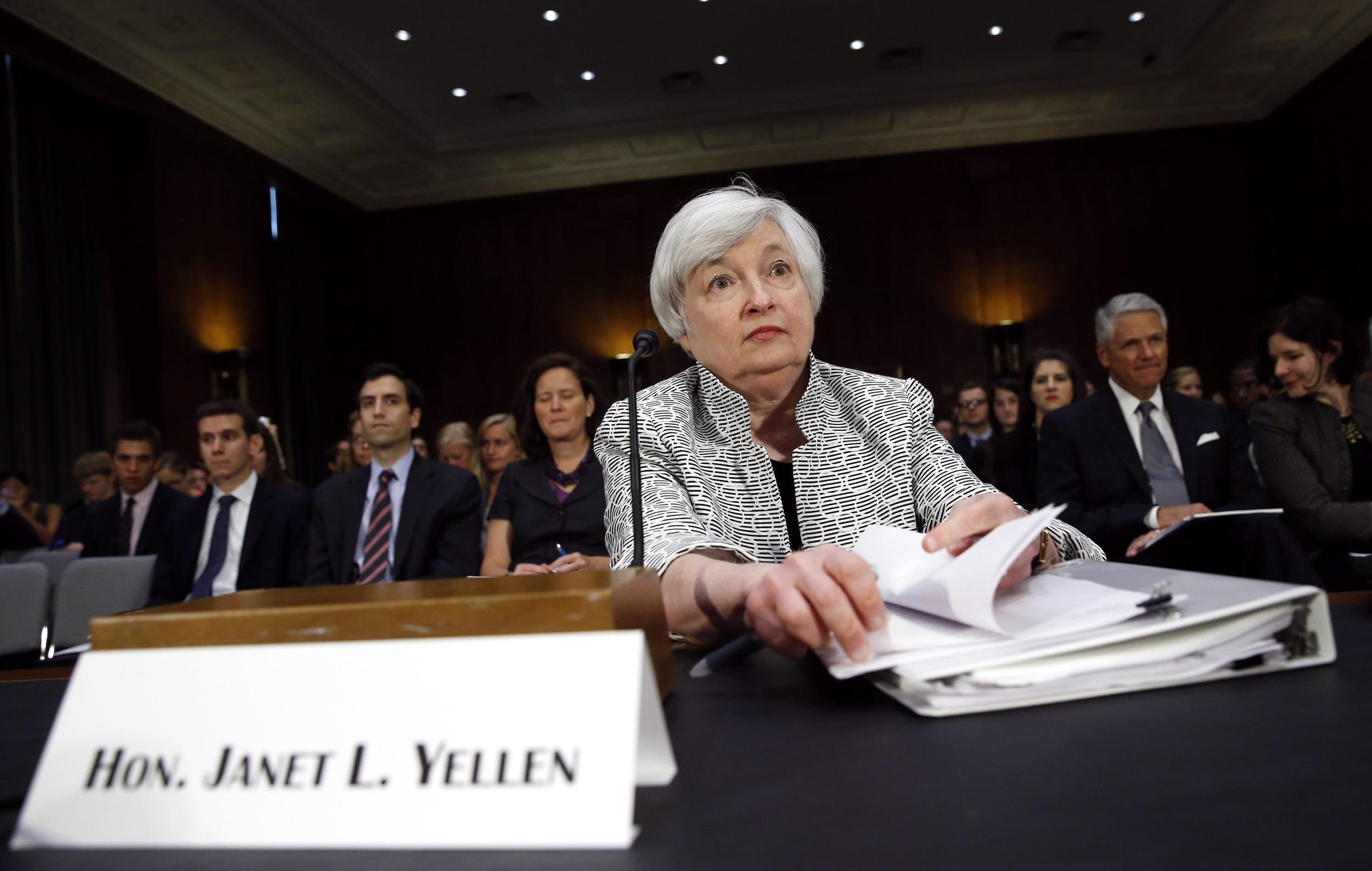 Federal Reserve Chair Janet Yellen testifies before the Senate Banking Committee on Capitol Hill in Washington July 15, 2014.