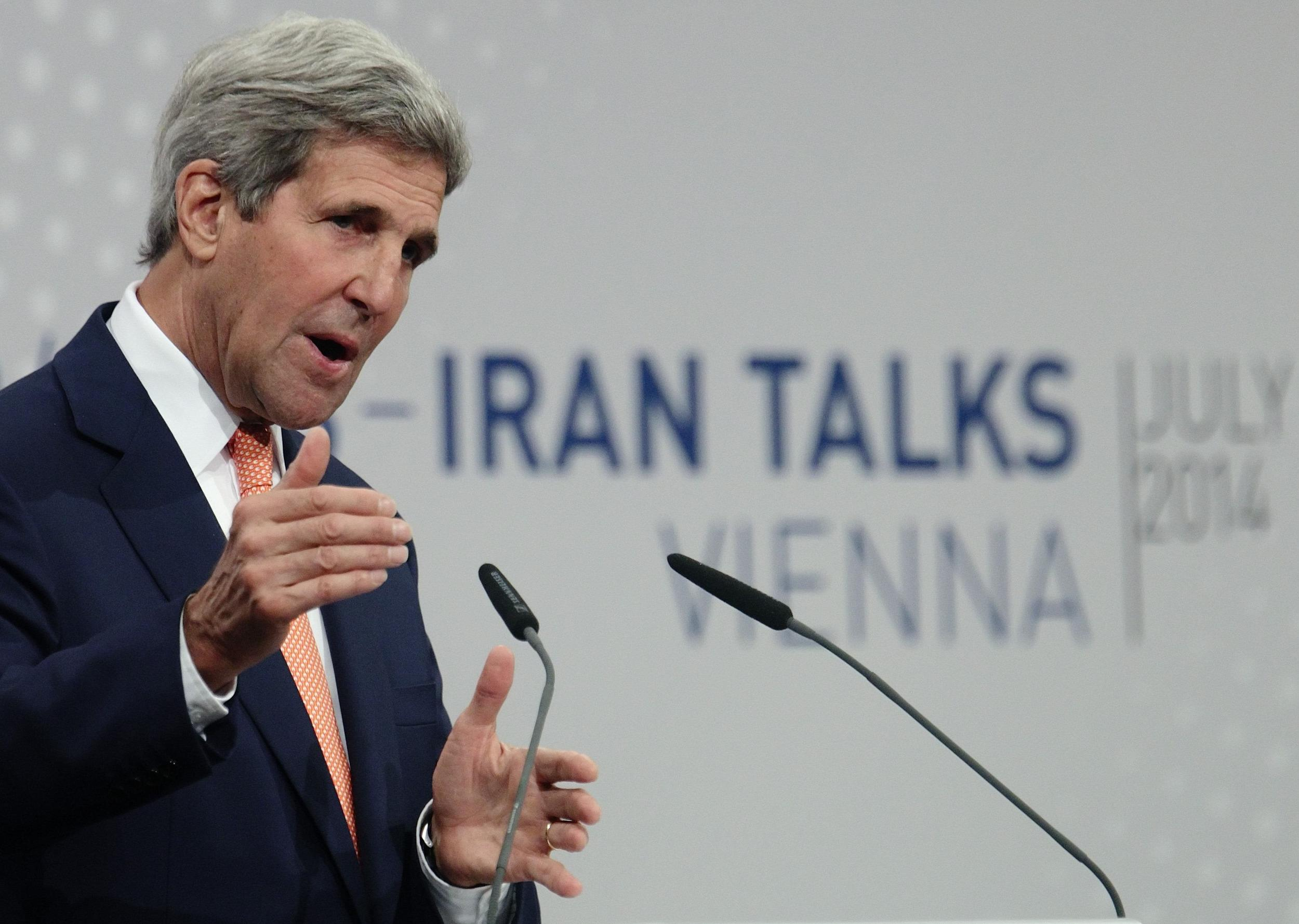 Image: U.S. Secretary of State John Kerry speaks during a news conference in Vienna