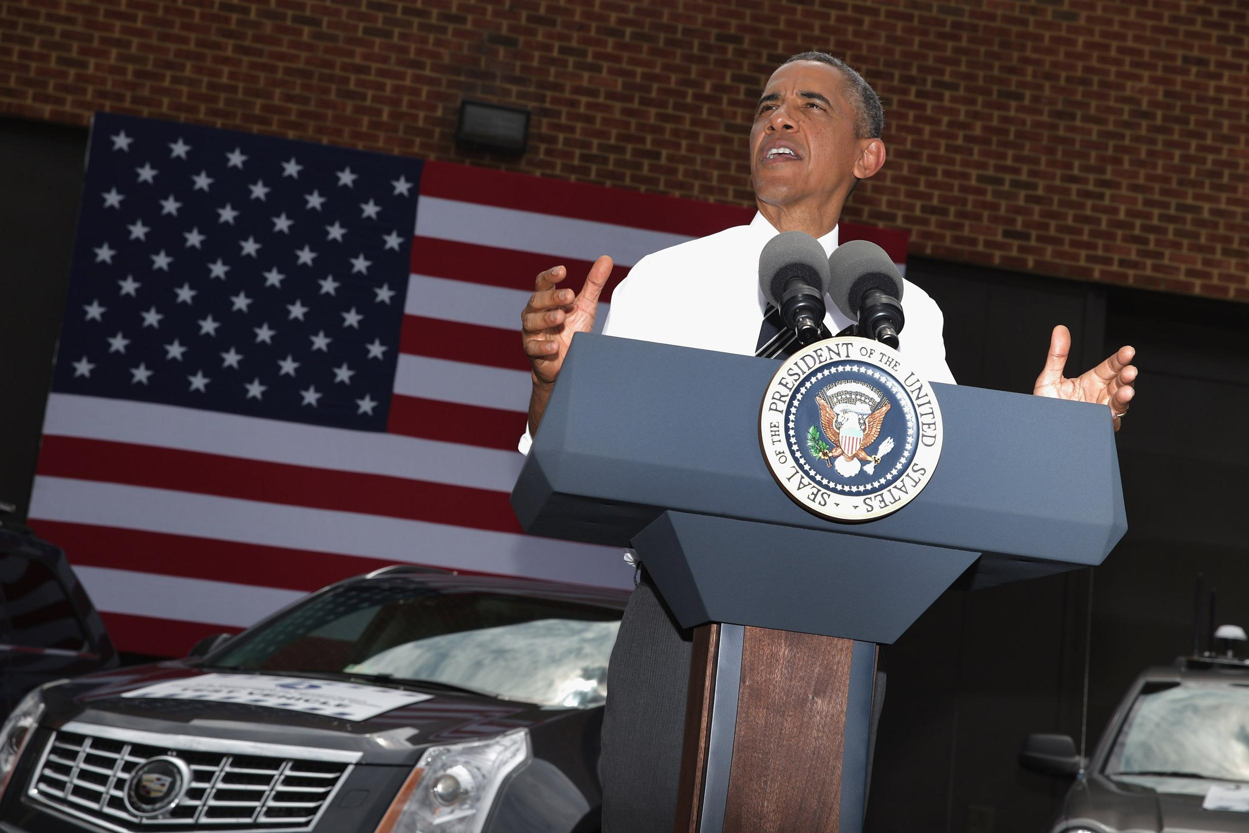 Image: President Obama Speaks On The Economy At The Turner-Fairbank Highway Research Center