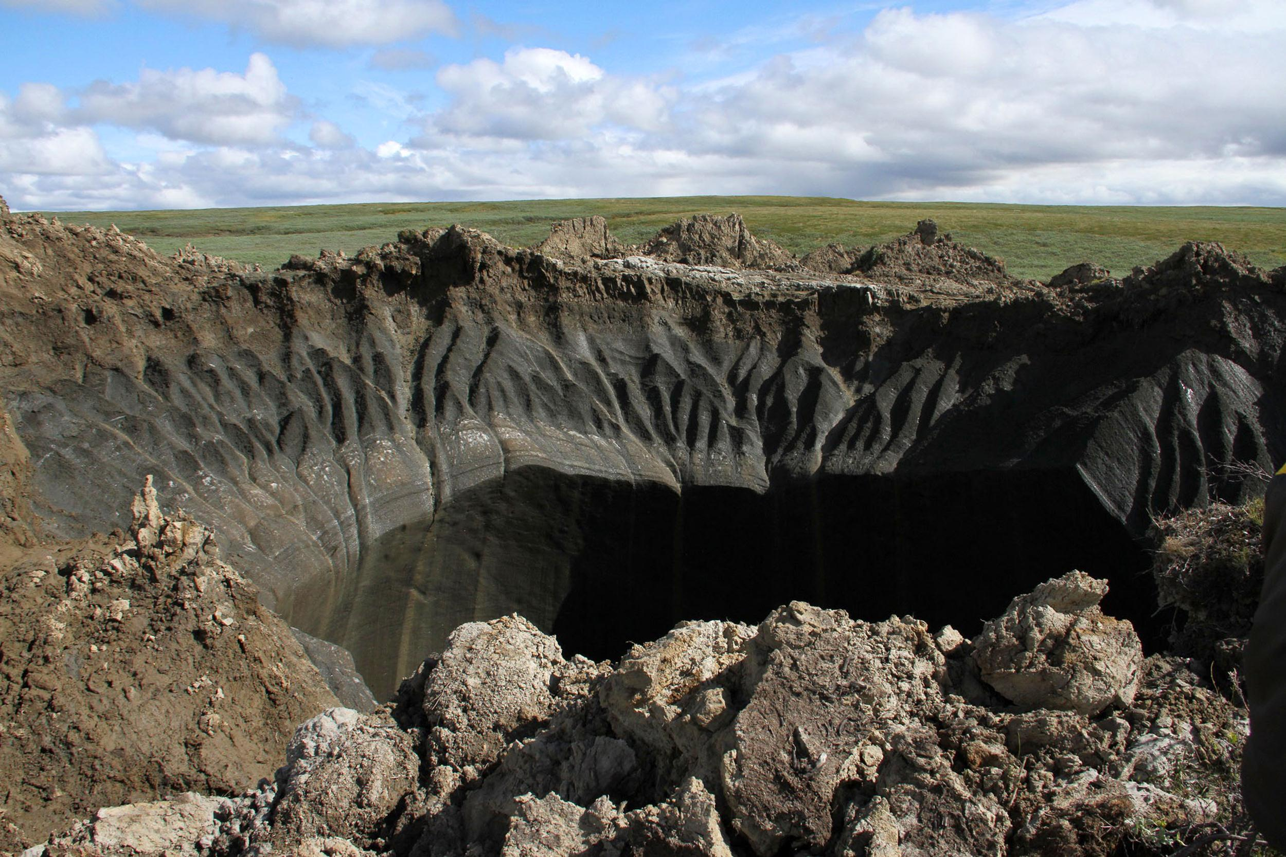 Image: A view of the edge of the crater on the Yamal Peninsula in Siberia.