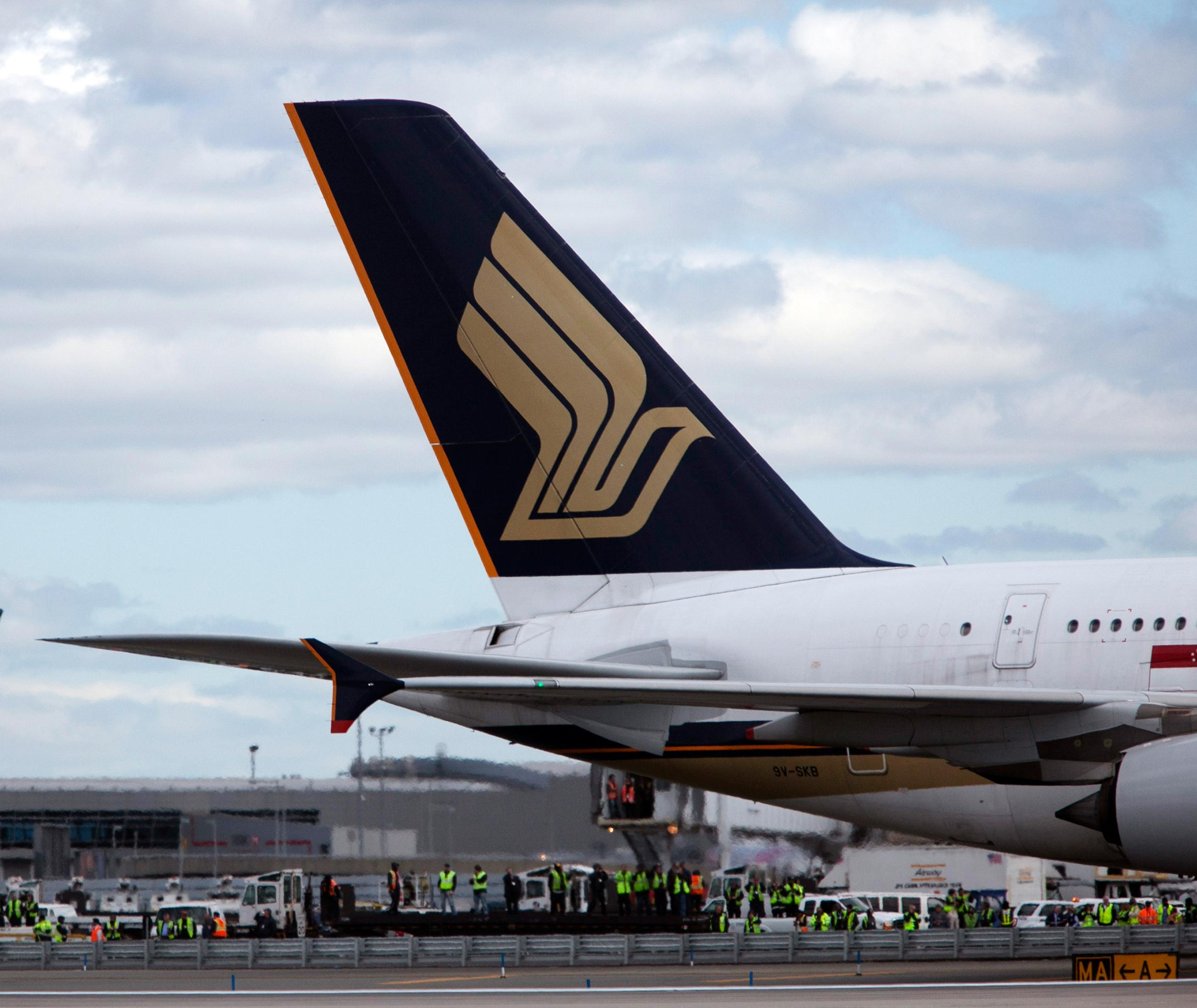 A Singapore Airlines plane is seen at John F. Kennedy International Airport