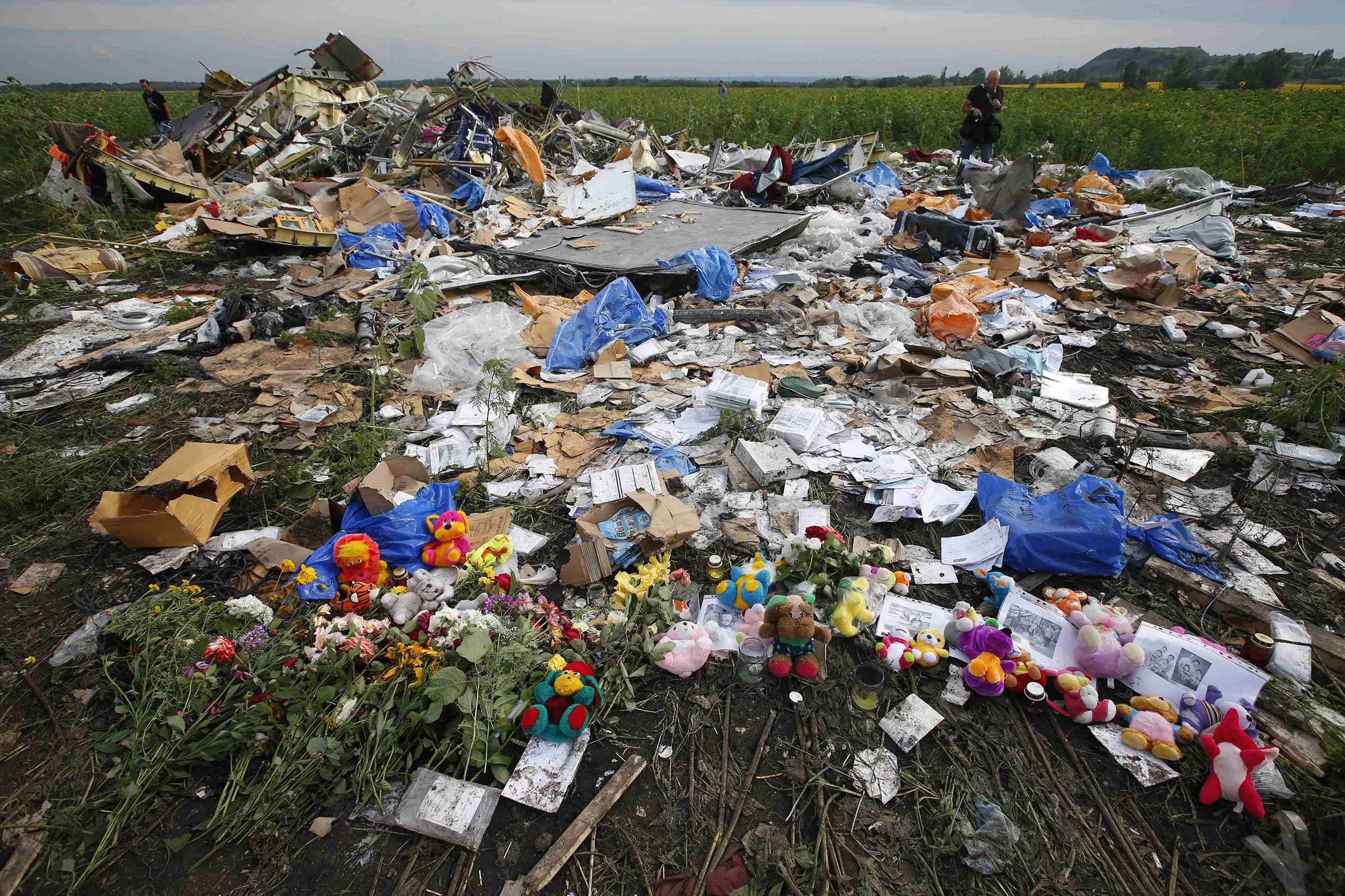 Image: Flowers and mementos left by local residents at the crash site of Malaysia Airlines Flight MH17 are pictured near the settlement of Rozspyne in the Donetsk region