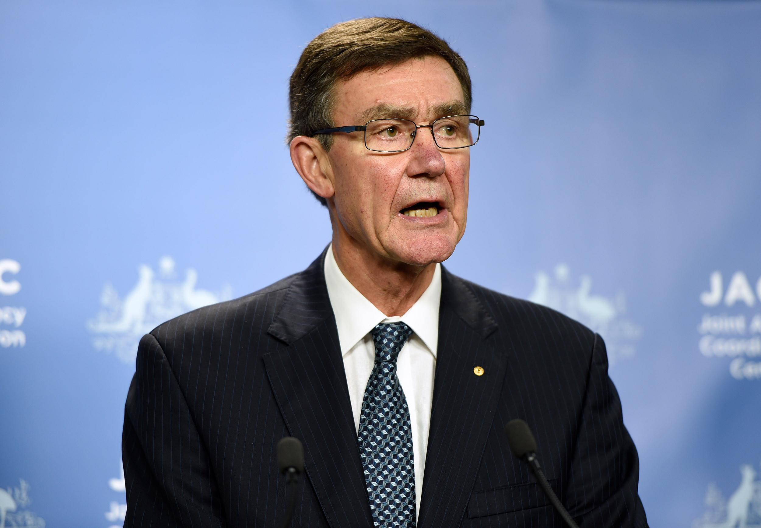 Image: Angus Houston, head of the Joint Agency Coordination Centre leading the search for missing Malaysia Airlines flight MH370 speaks to the media at Dumas House in Perth on April 14.