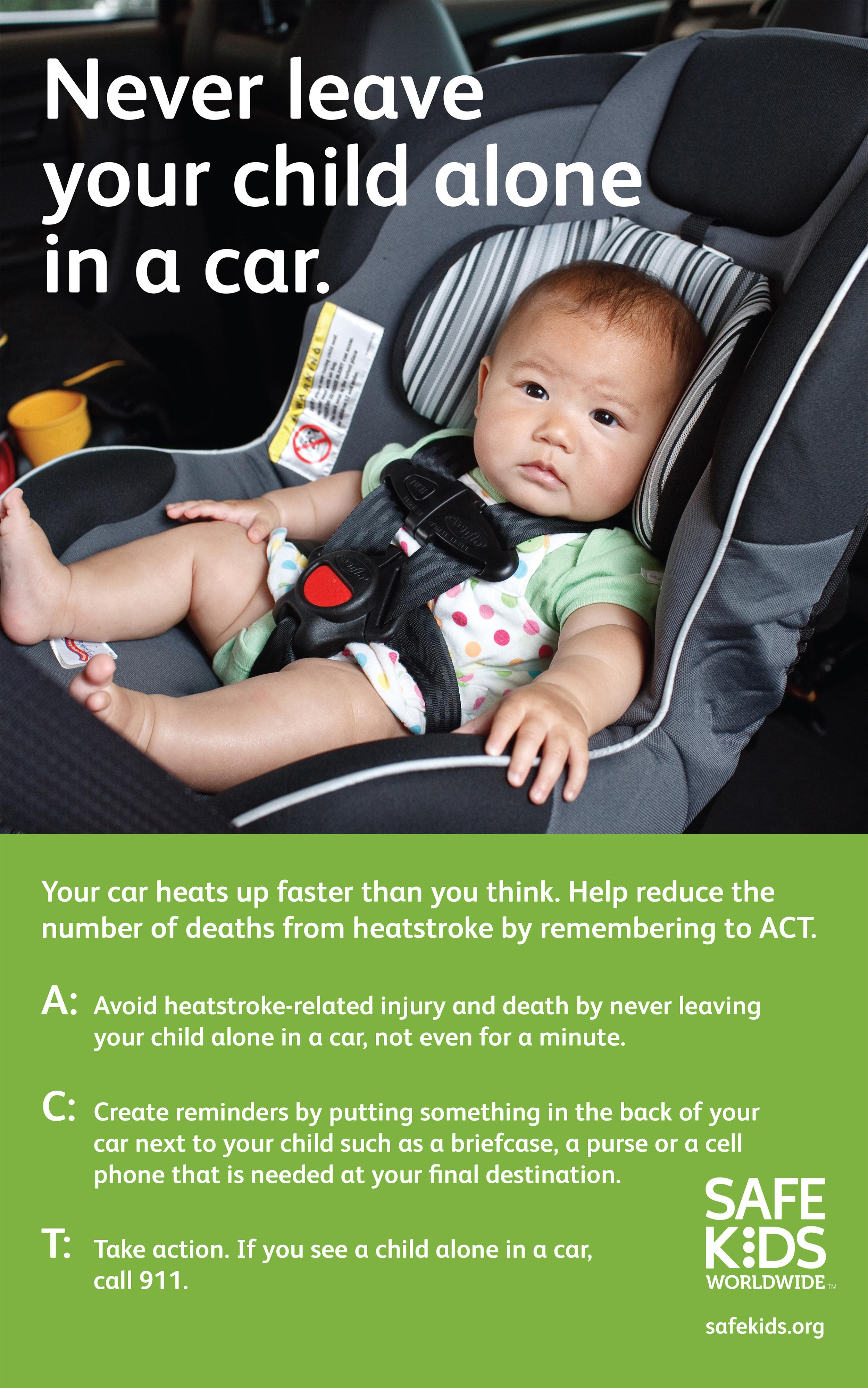 Image: A poster from SafeKids.org advises people to not leave kids alone in cars.
