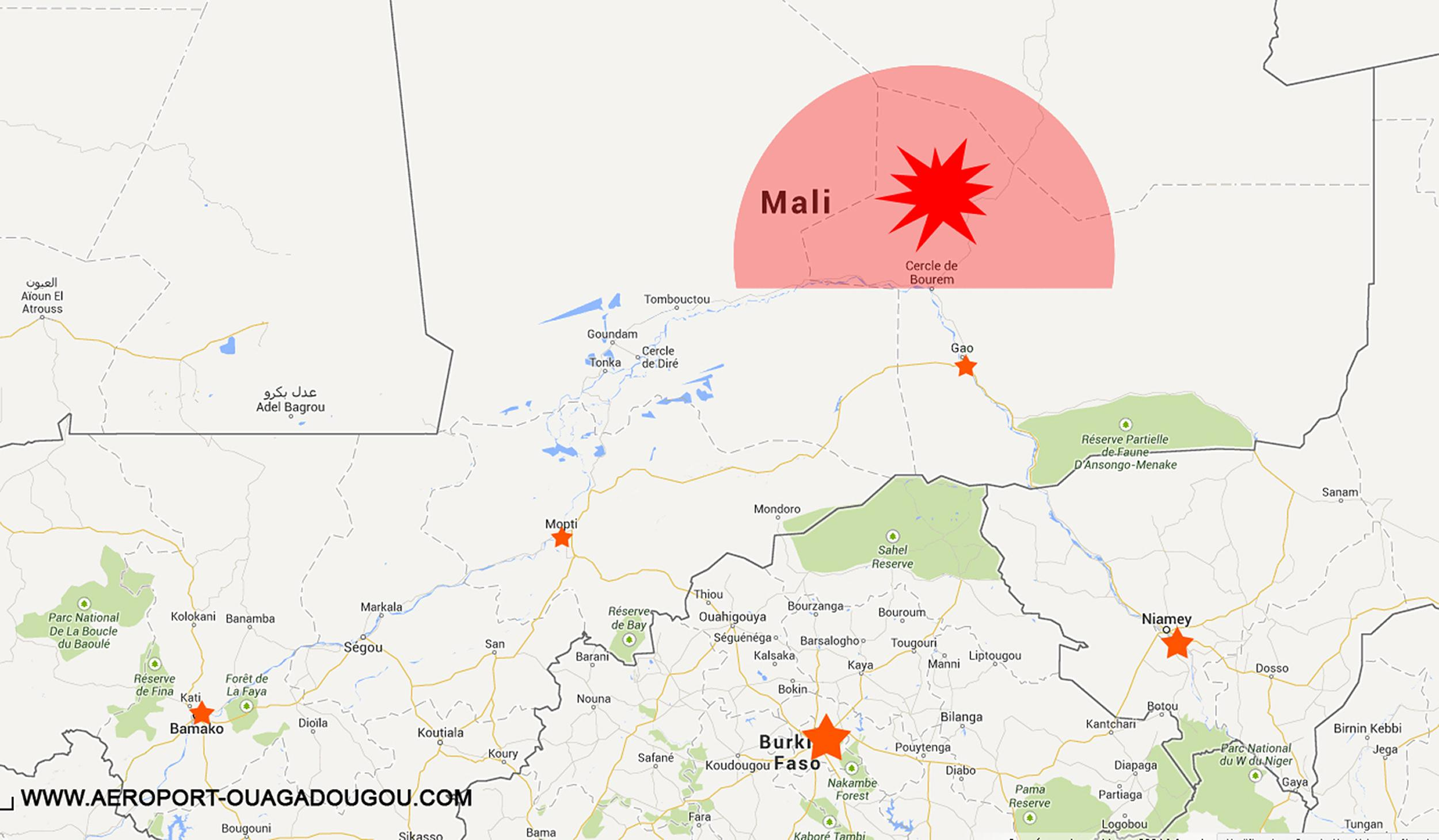 Image: A map posted on the website of Ouagadougou Airport showing the ar