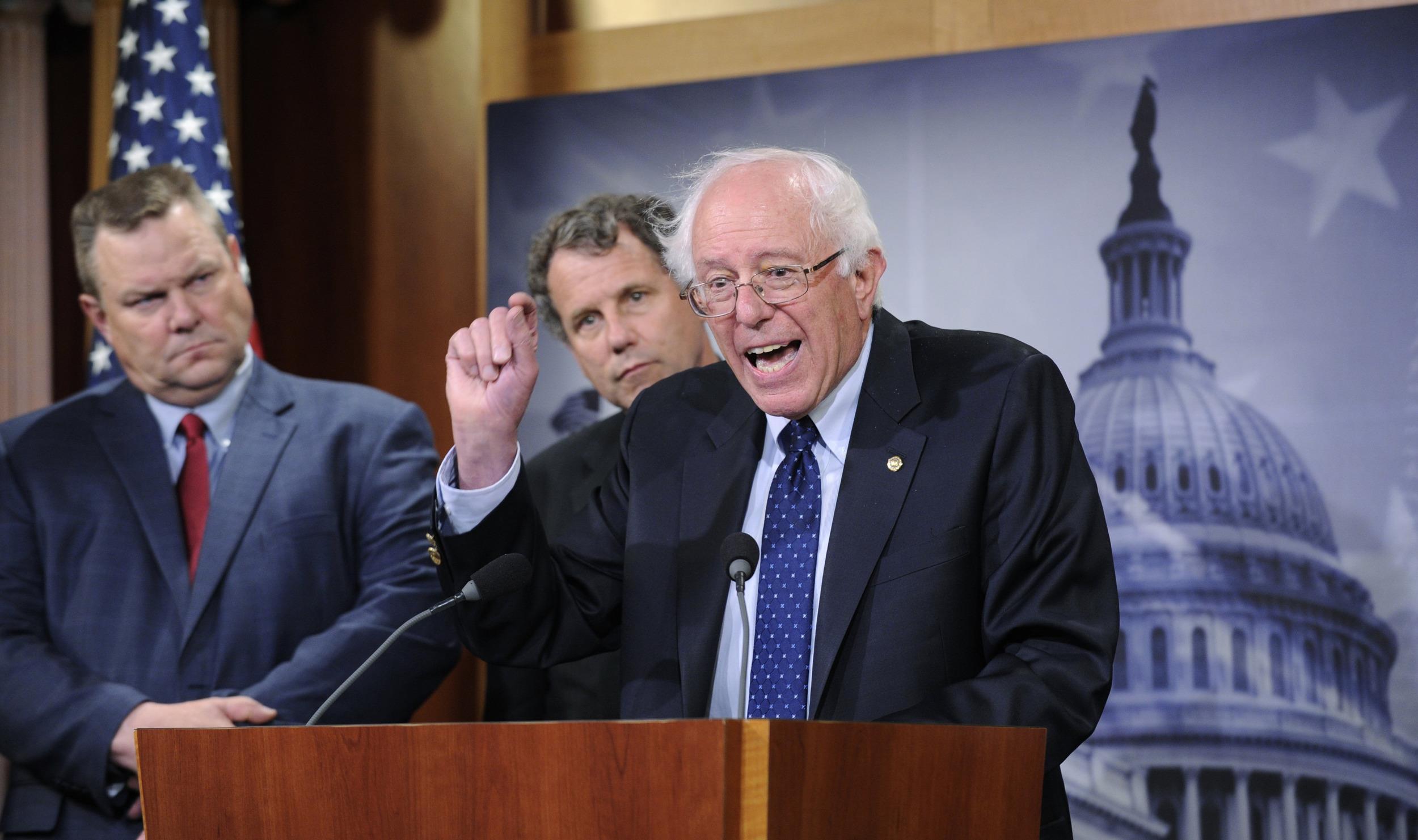 Image: Bernie Sanders, Jon Tester, Sherrod Brown