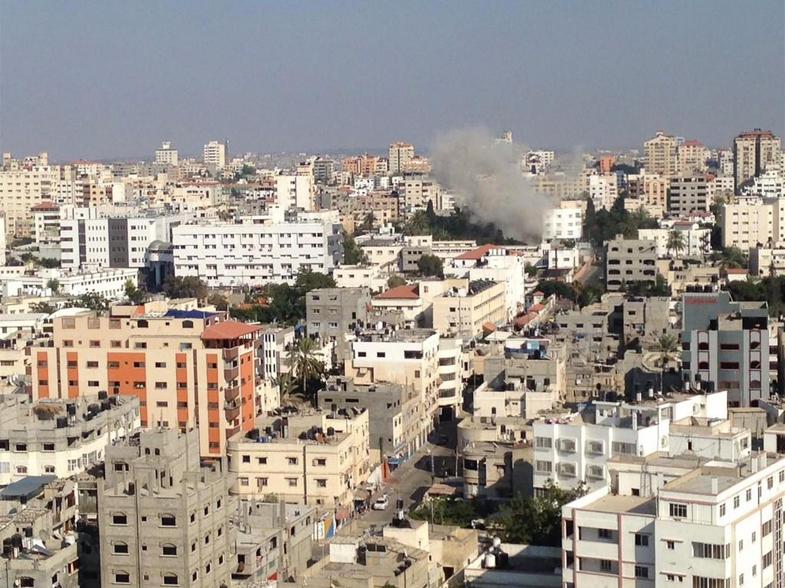 An Israeli strike in the vicinity of Shifa hospital in Gaza City, July 28, 2014.